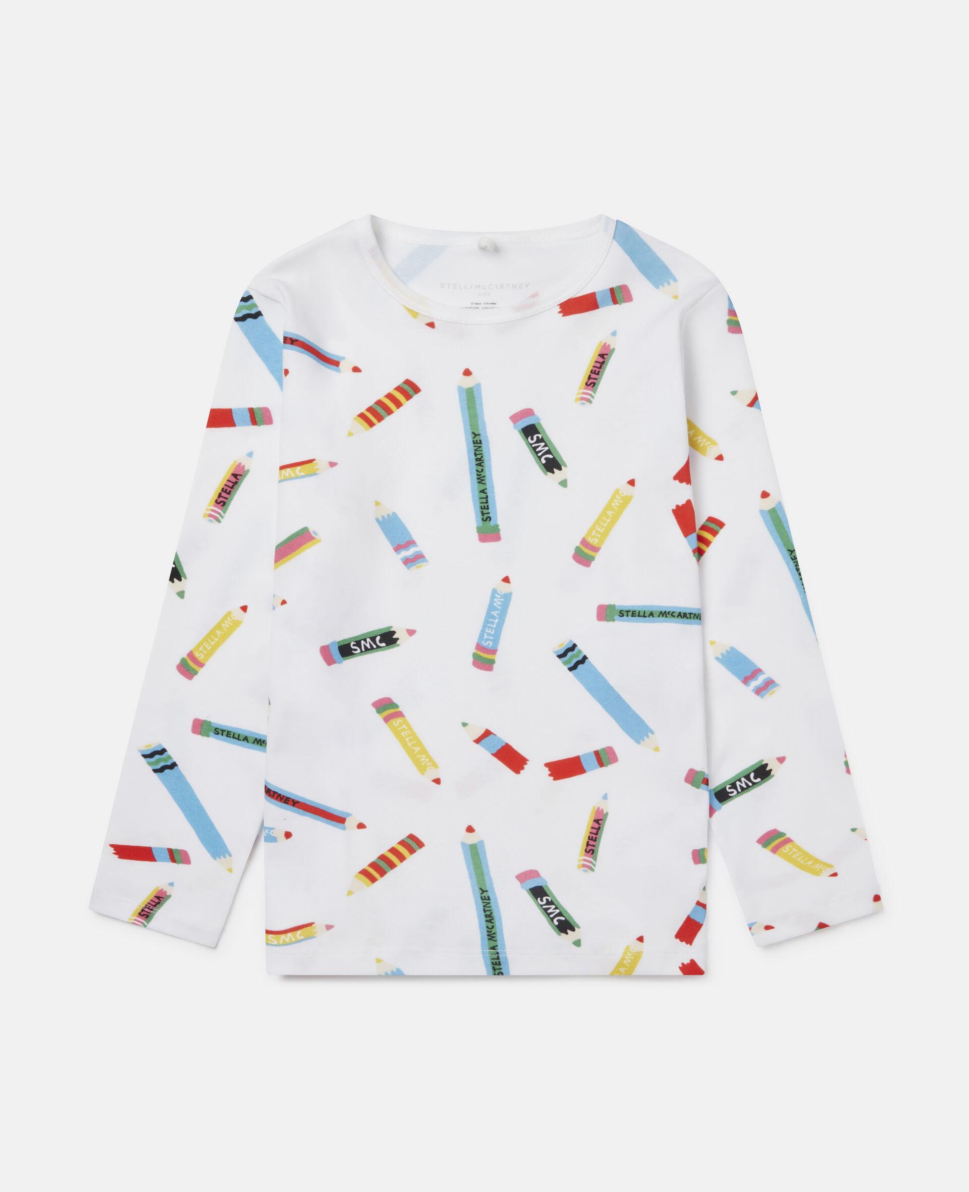 T-Shirt aus Baumwolle mit Stifte-Print -Weiß-large image number 0
