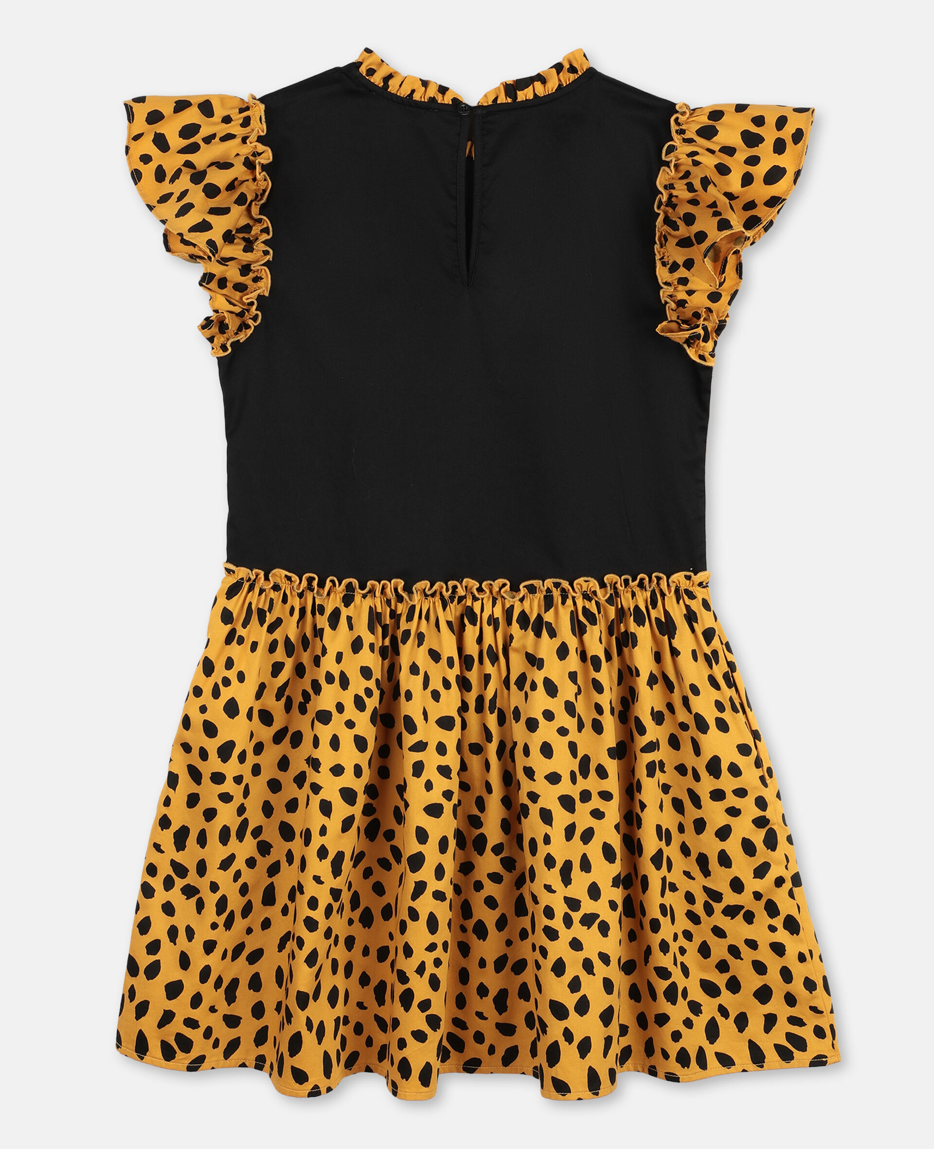 Cheetah Cotton Dress-Black-large image number 3