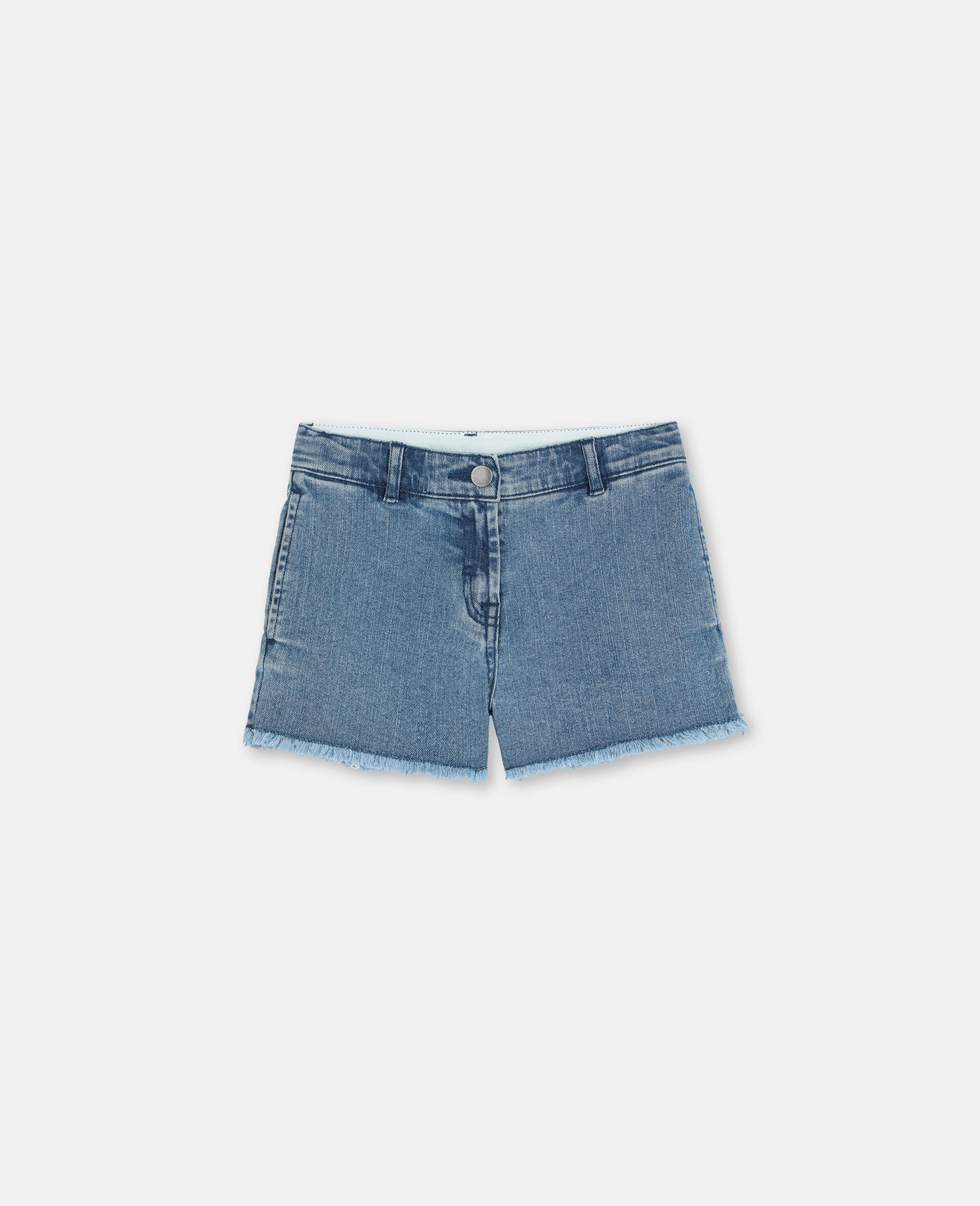 Butterfly Patch Denim Shorts -Blue-large image number 0