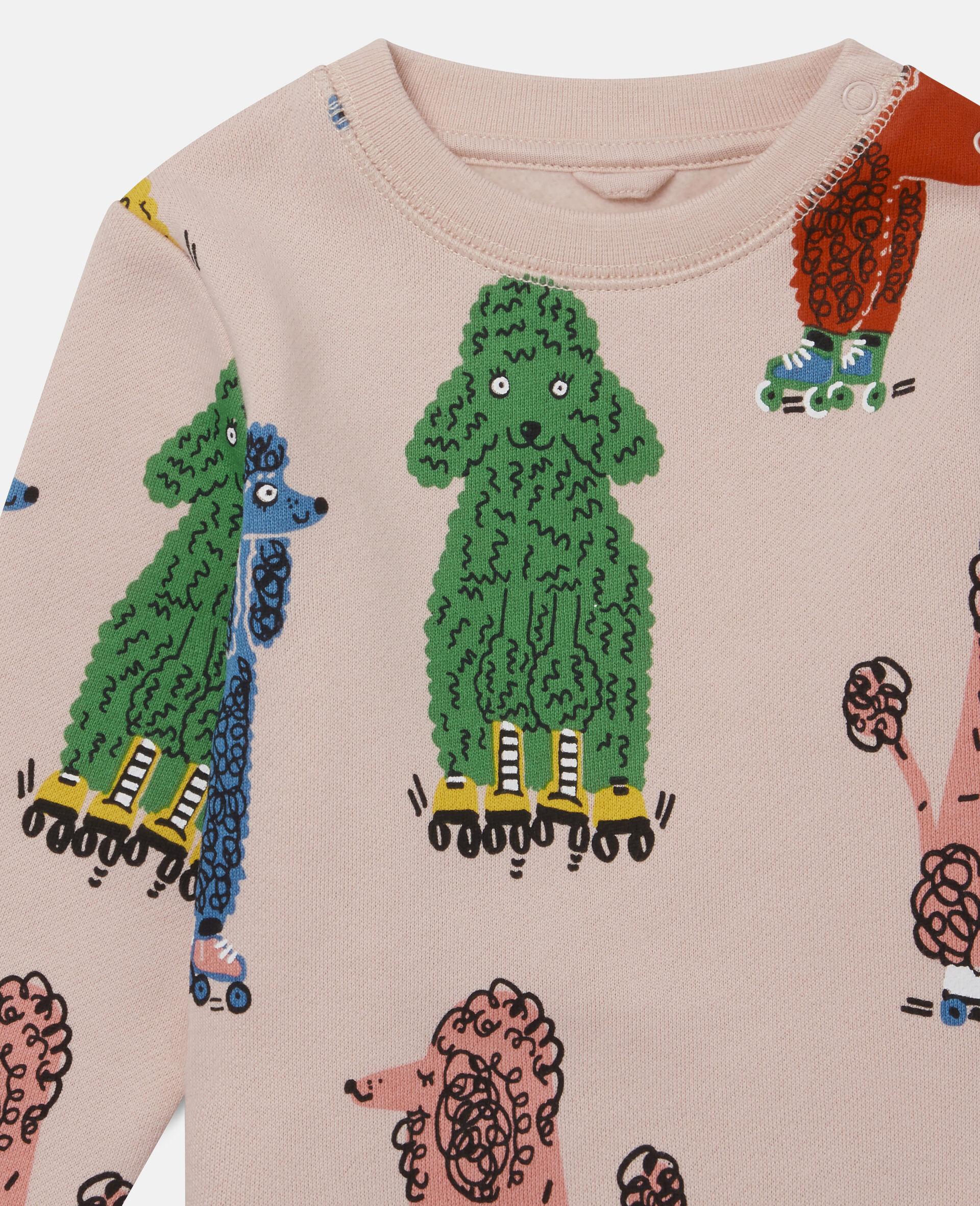 Sweatshirt aus Fleece mit Pudel-Print-Rose-large image number 1