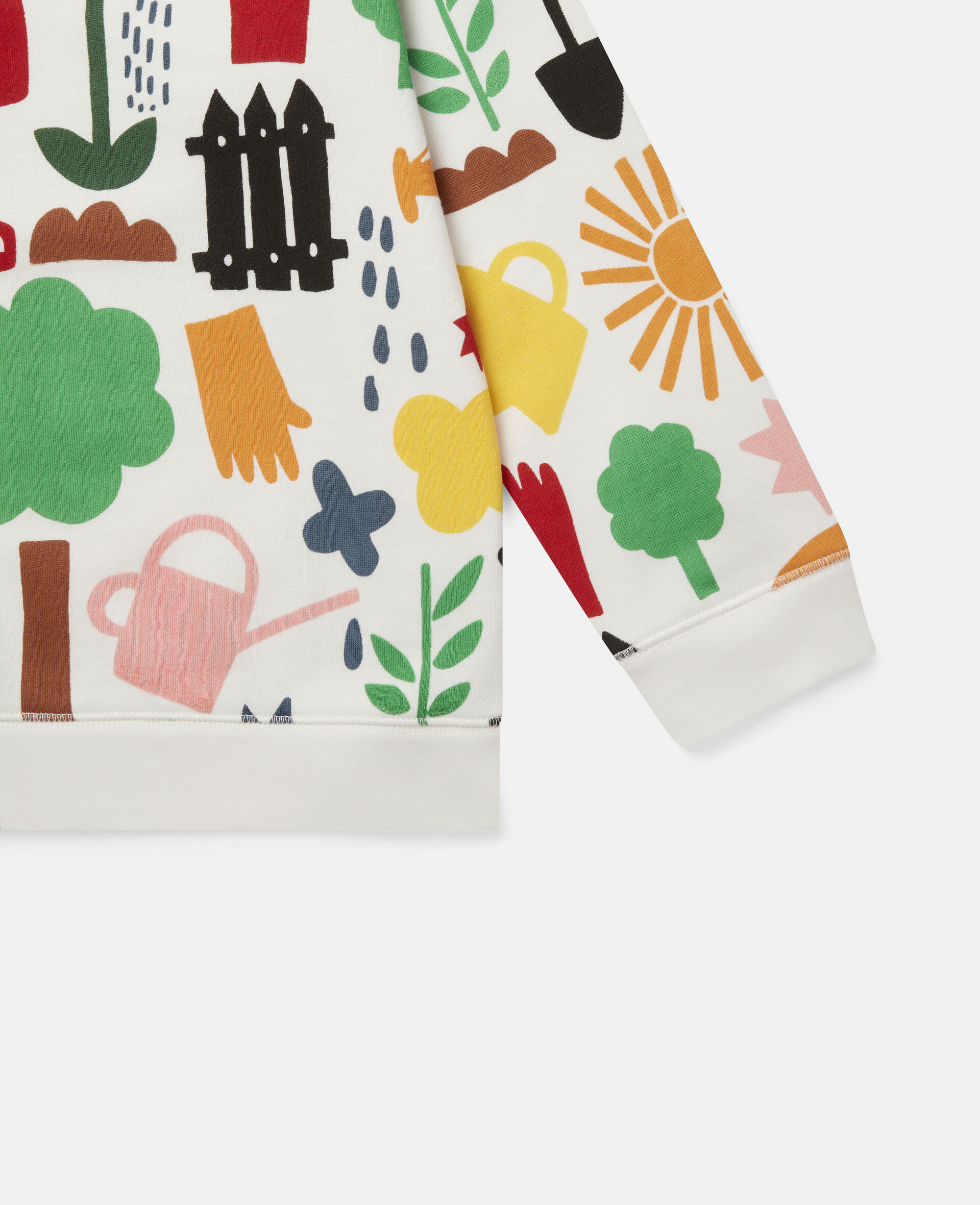 Sweat-shirt en polaire motifs jardin-Blanc-large image number 2