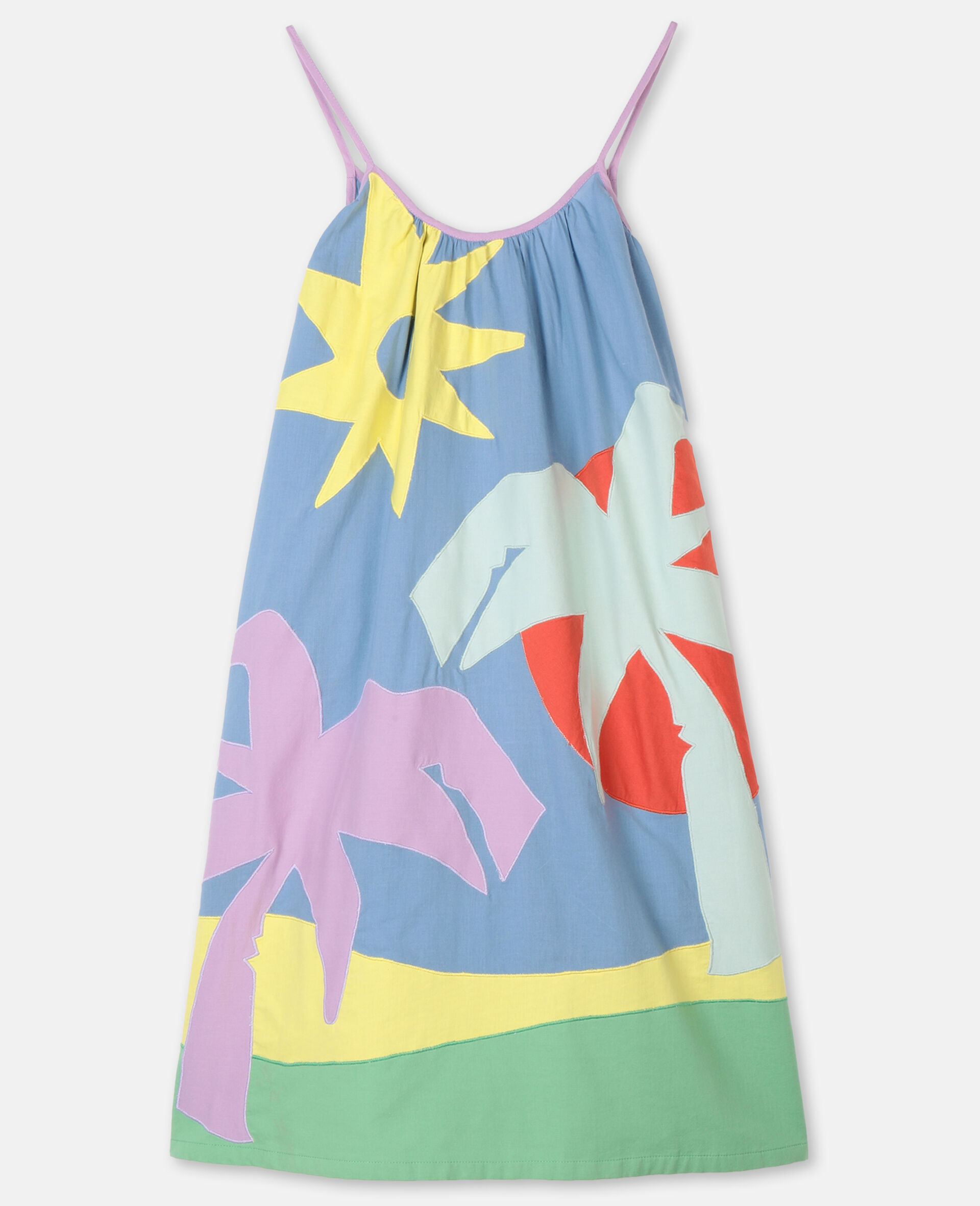 Palm Patches Cotton Dress-Multicoloured-large image number 0