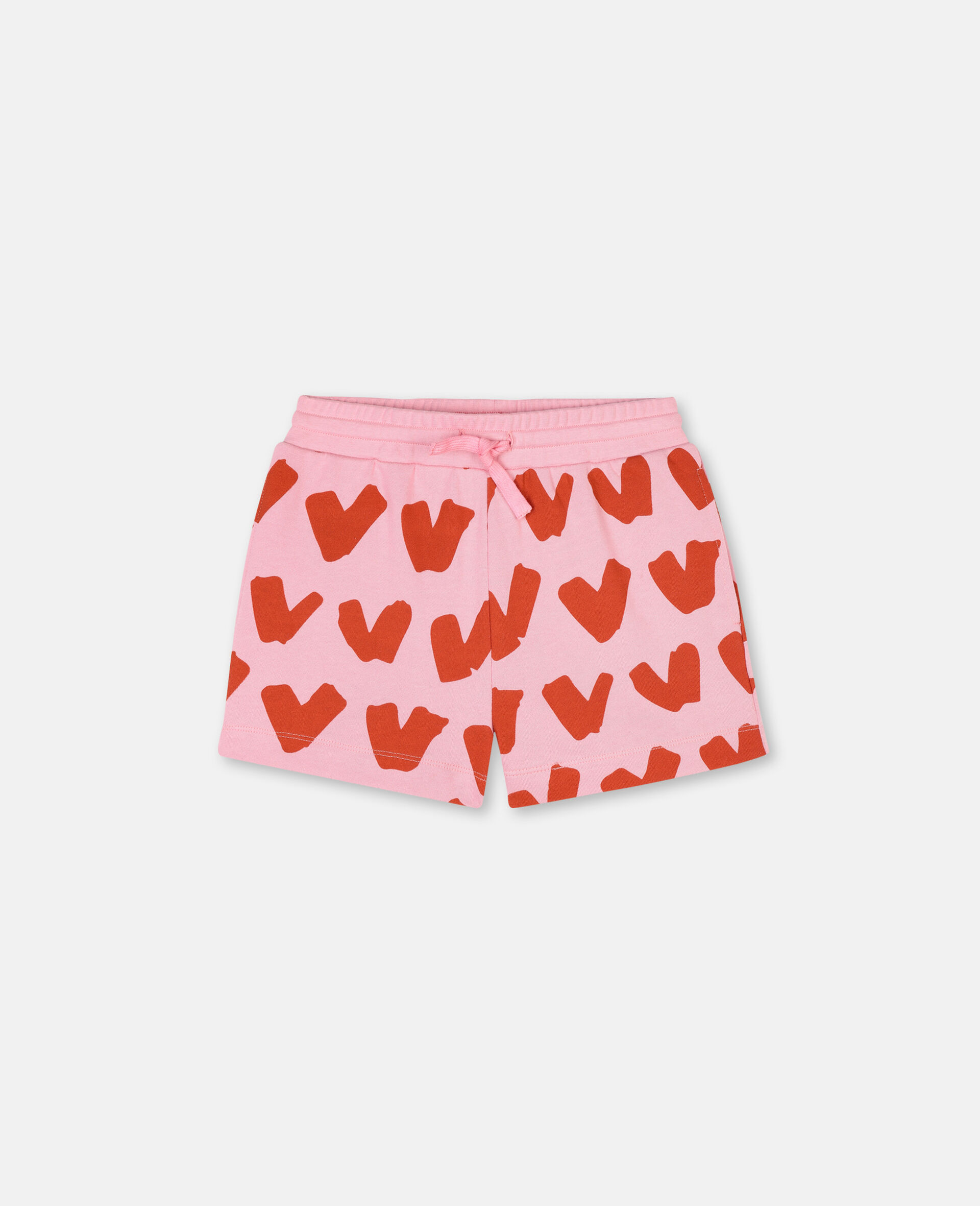 Hearts Cotton Fleece Shorts-Pink-large image number 0