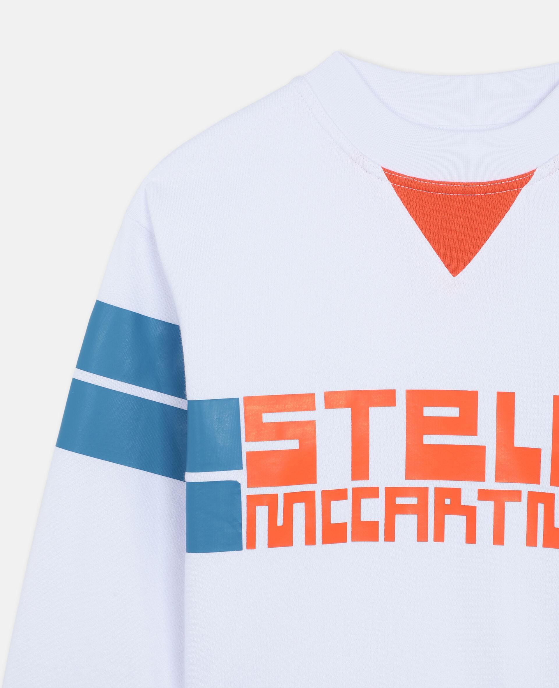 Sweat-shirt de sport oversize en coton avec logo -Blanc-large image number 1