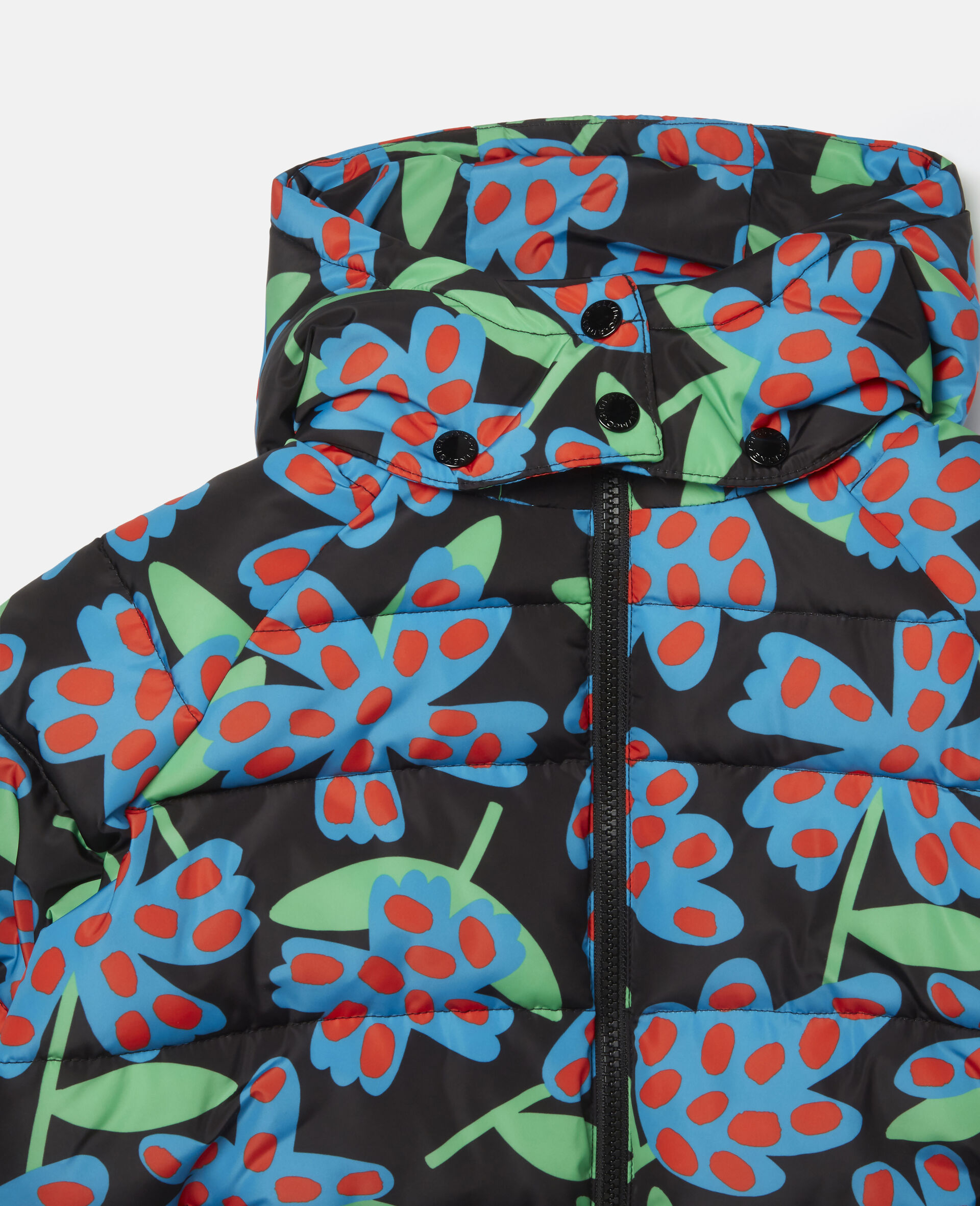 Spotty Flowers Hooded Puffer Jacket -Blue-large image number 1