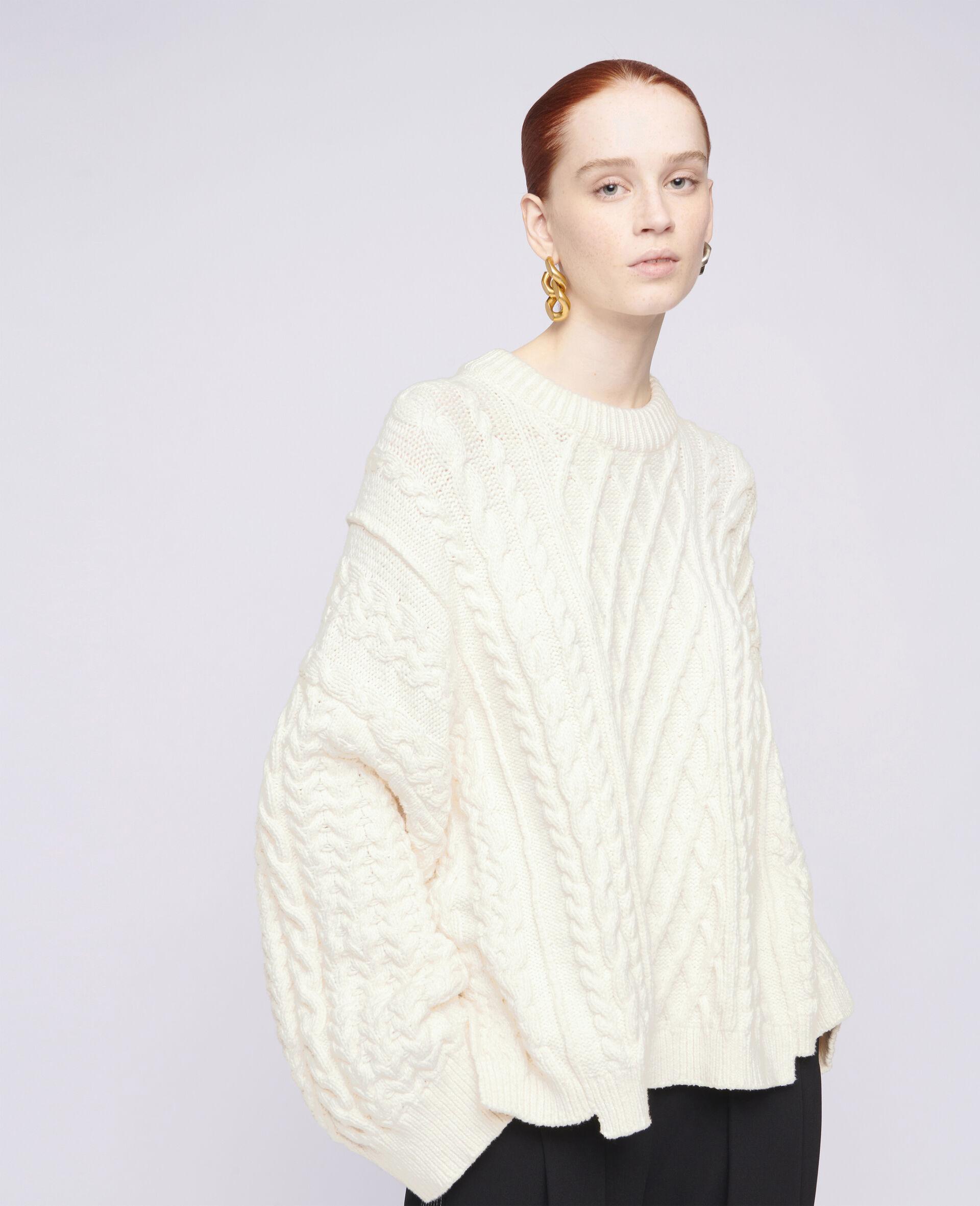 Übergroßer Pullover mit Aran-Muster-Weiß-large image number 3