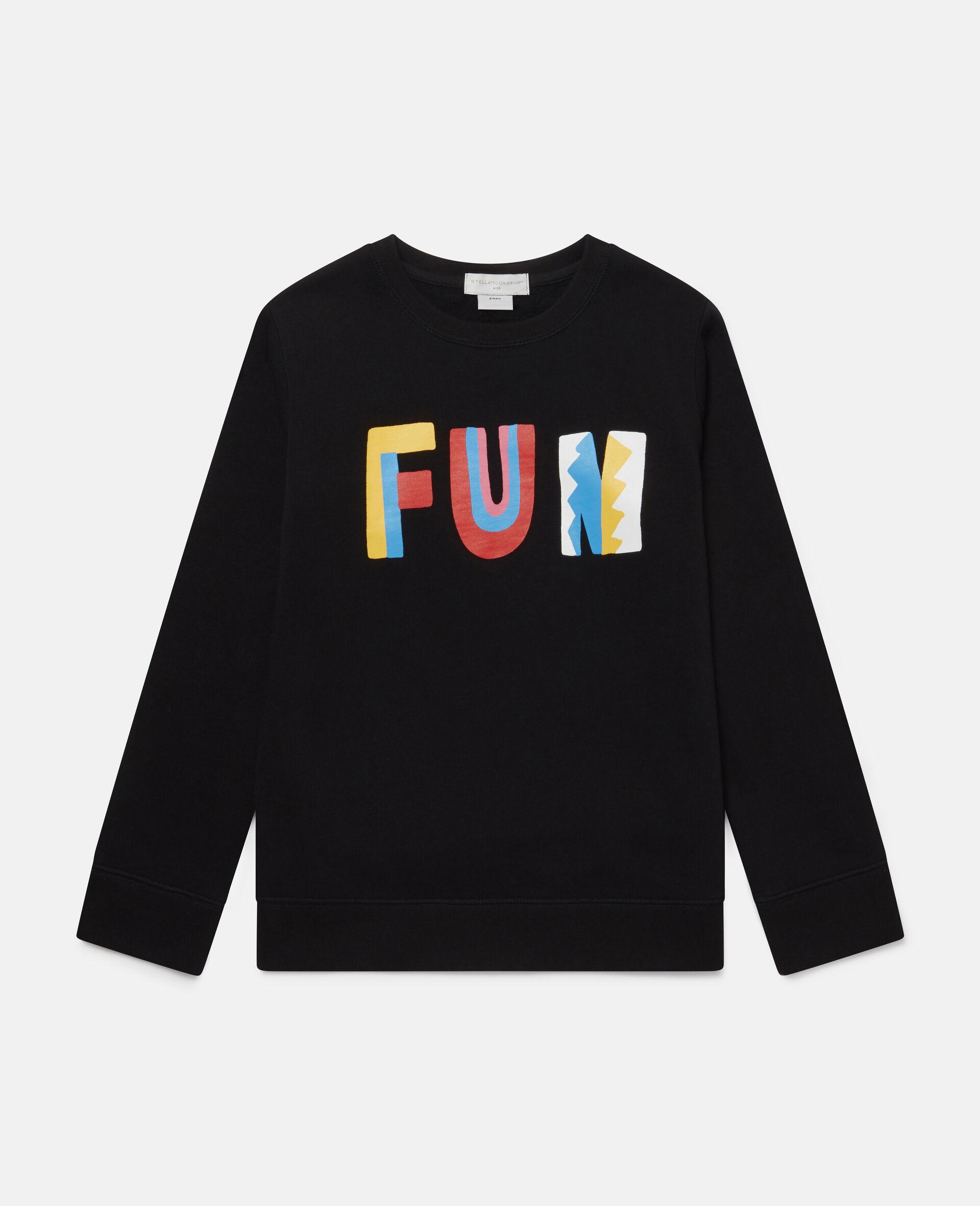 Sweat-shirt oversize en polaire de coton Fun -Noir-large image number 0