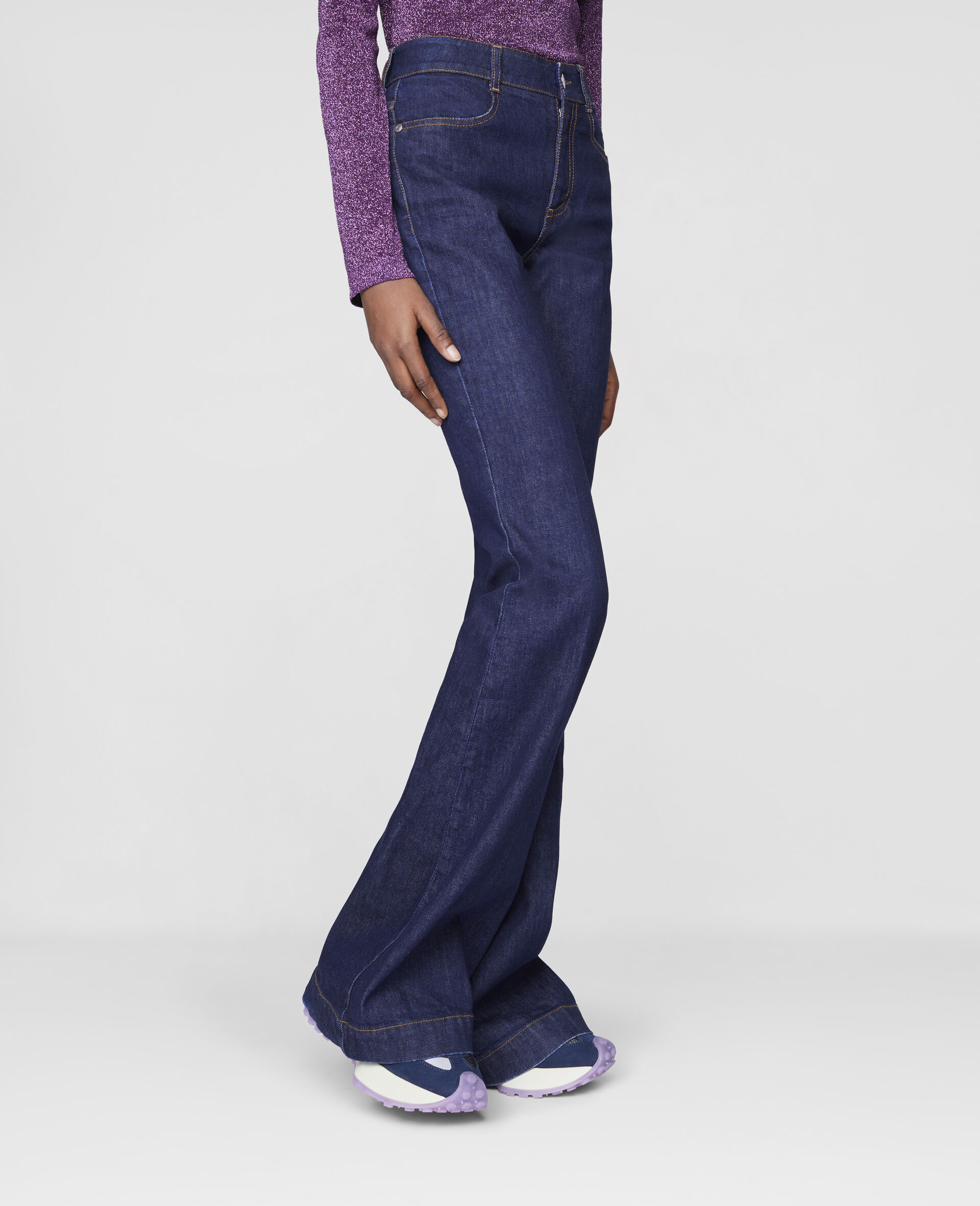 The 70s Flared Denim Trousers-Blue-large image number 3