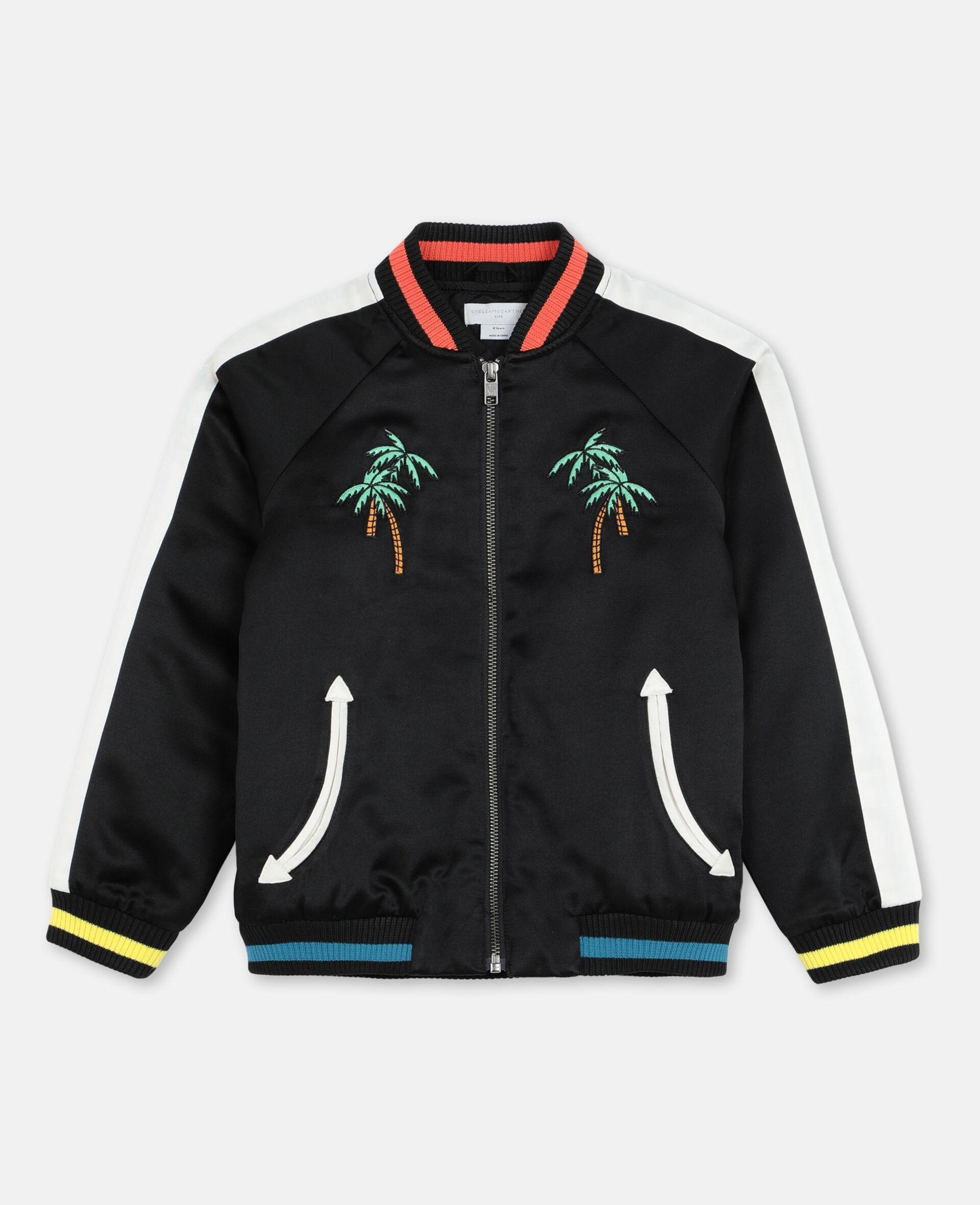 Bomber en satin avec palmiers brodés    -Noir-large image number 0