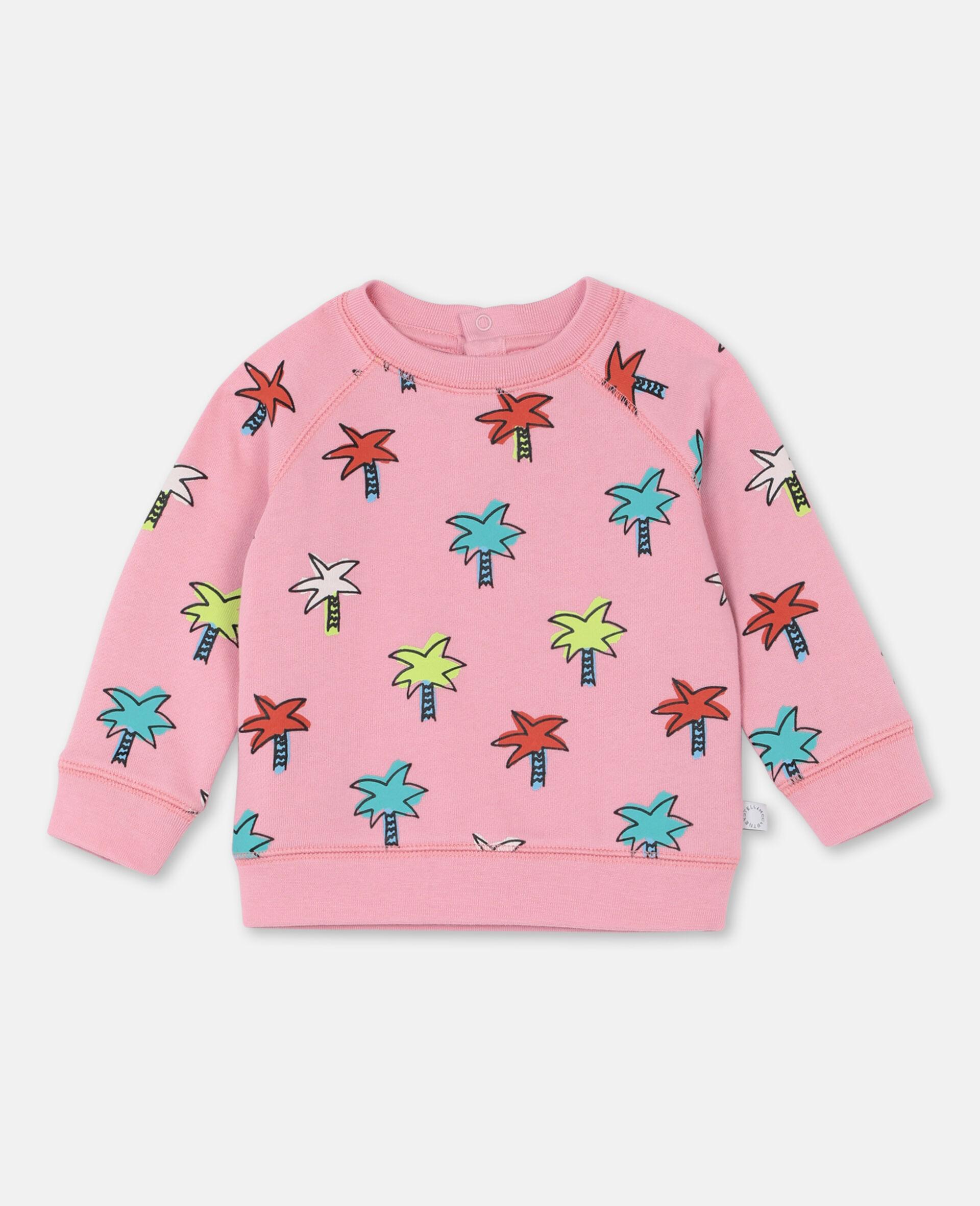 Sweat-shirt en coton à motif palmiers gribouillés -Rose-large image number 0