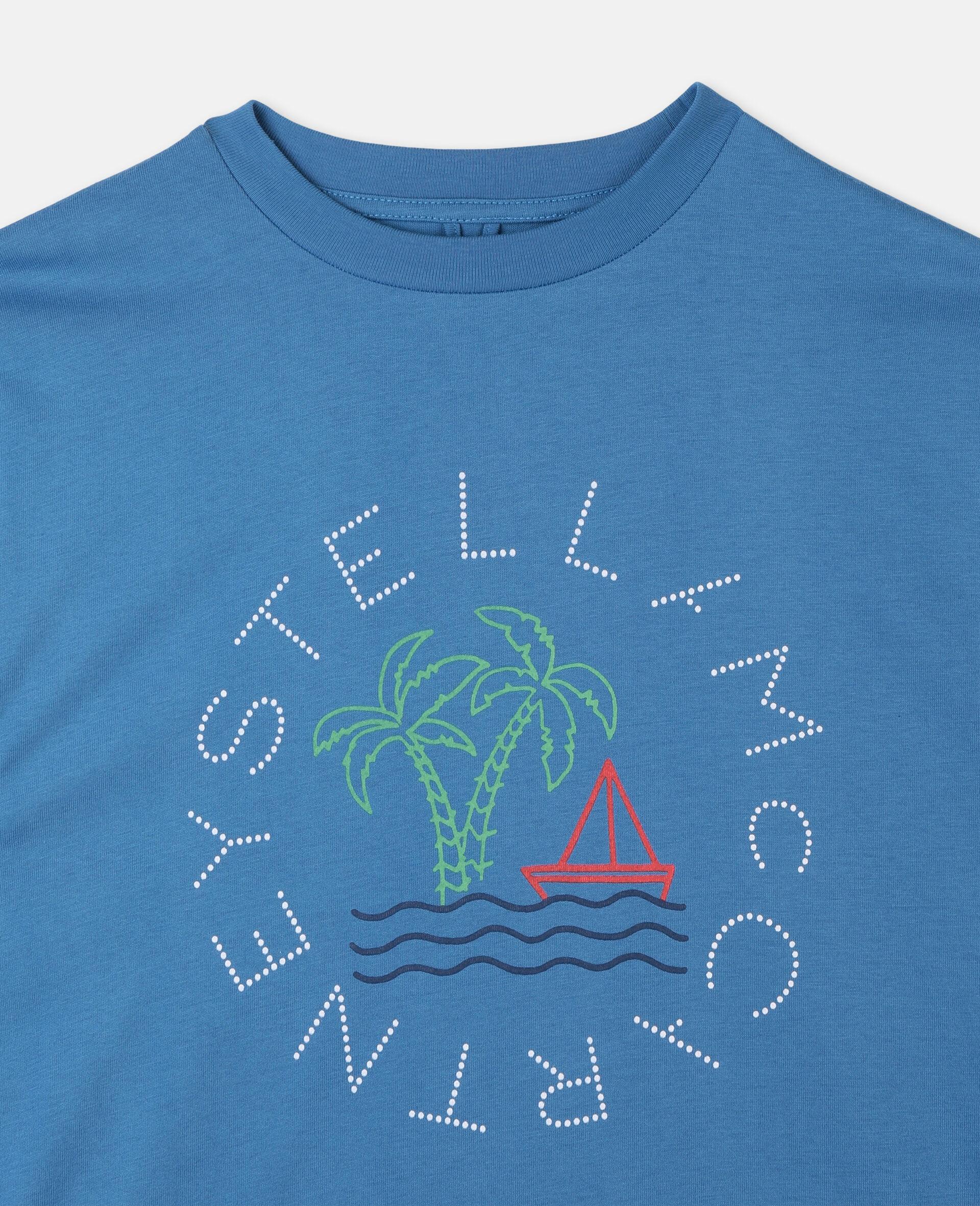 Oversize Logo Sailing Cotton T-Shirt -Blue-large image number 1