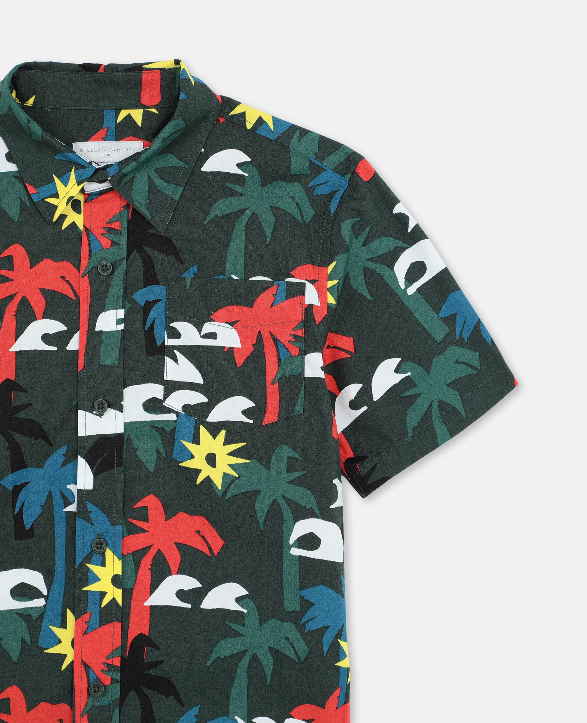 Palm Oversize Cotton Shirt -Multicolour-large image number 1