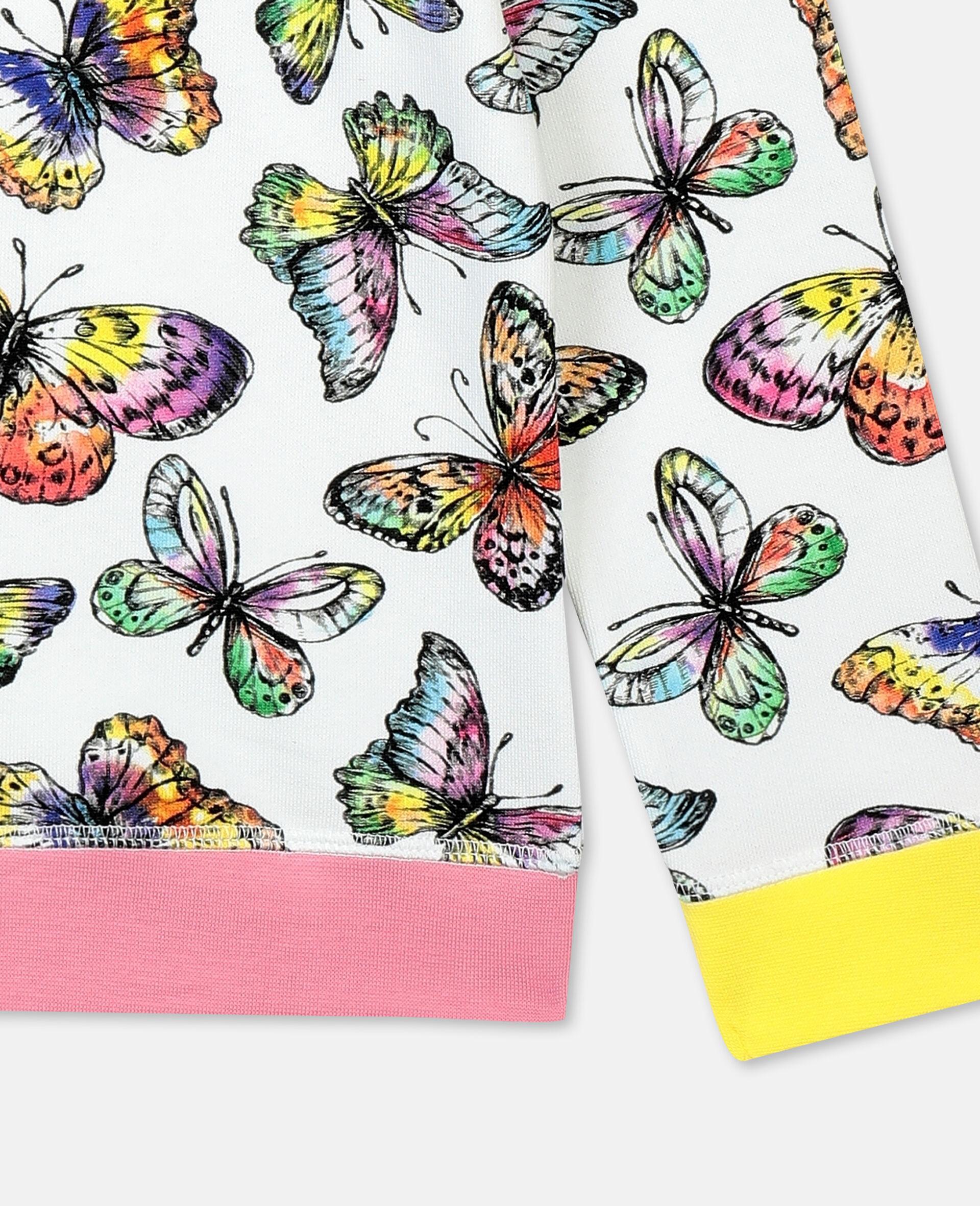Baumwollsweatshirt mit Schmetterling-Print-Bunt-large image number 2