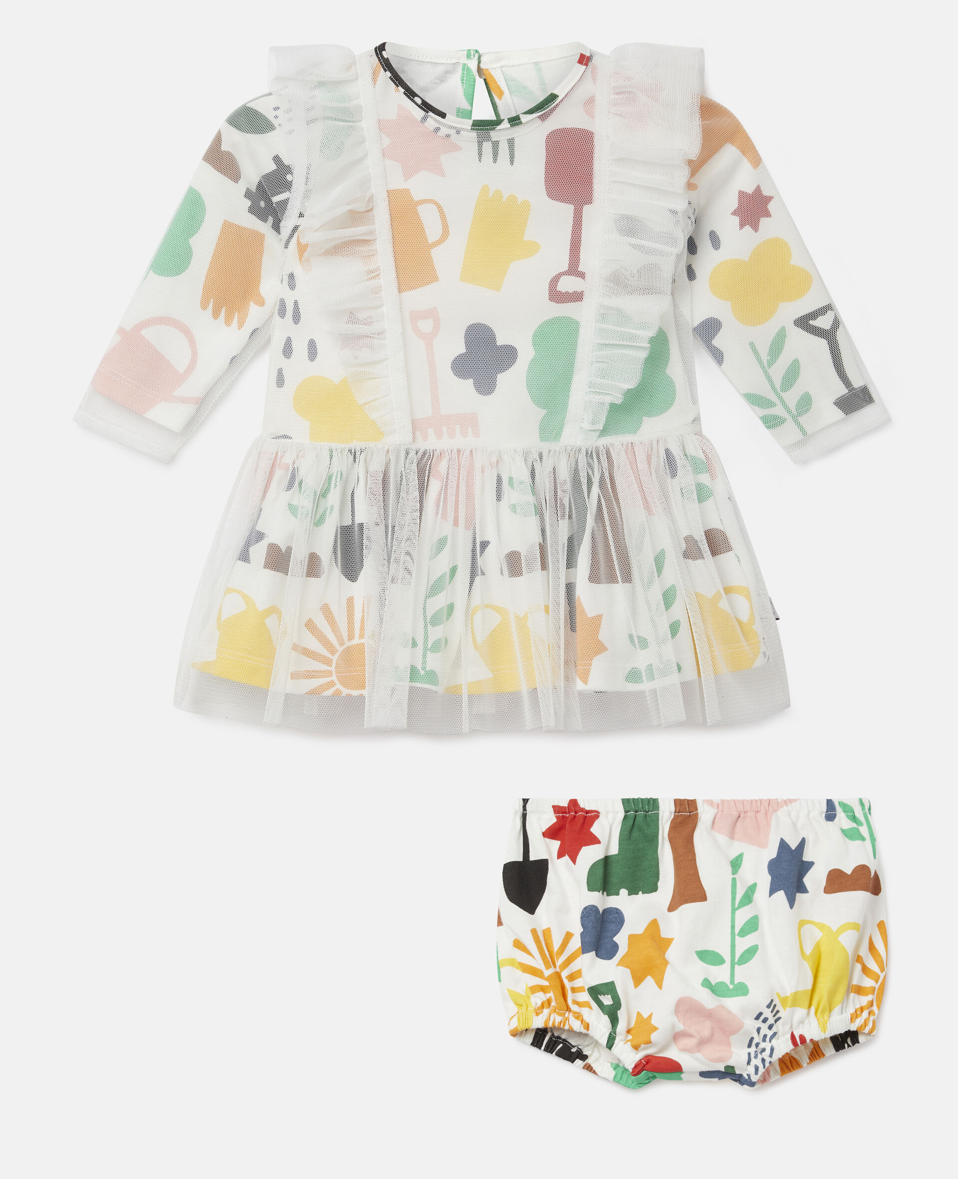 Garden Tulle Dress-White-large image number 0