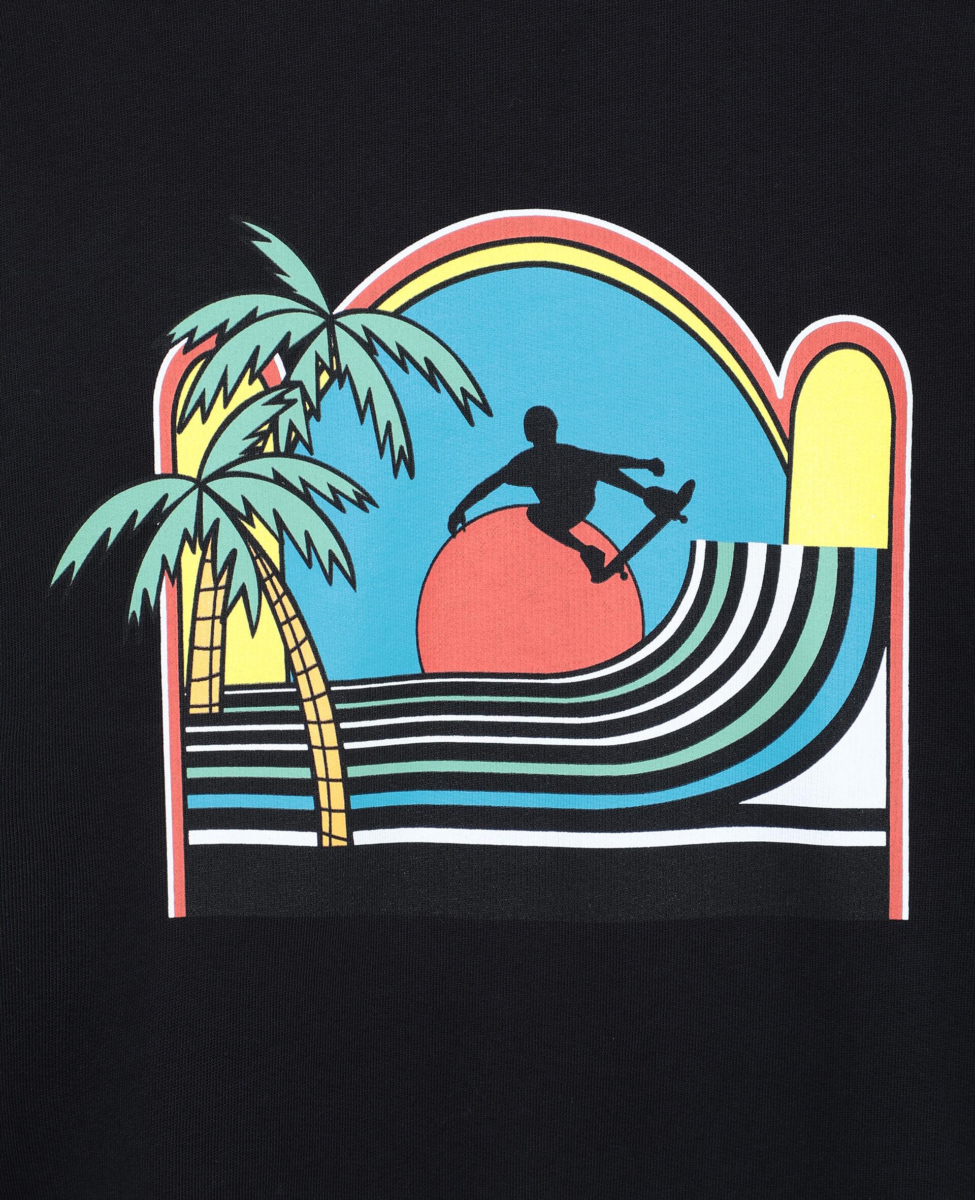 Oversize Skater Cotton Sweatshirt -Black-large image number 1