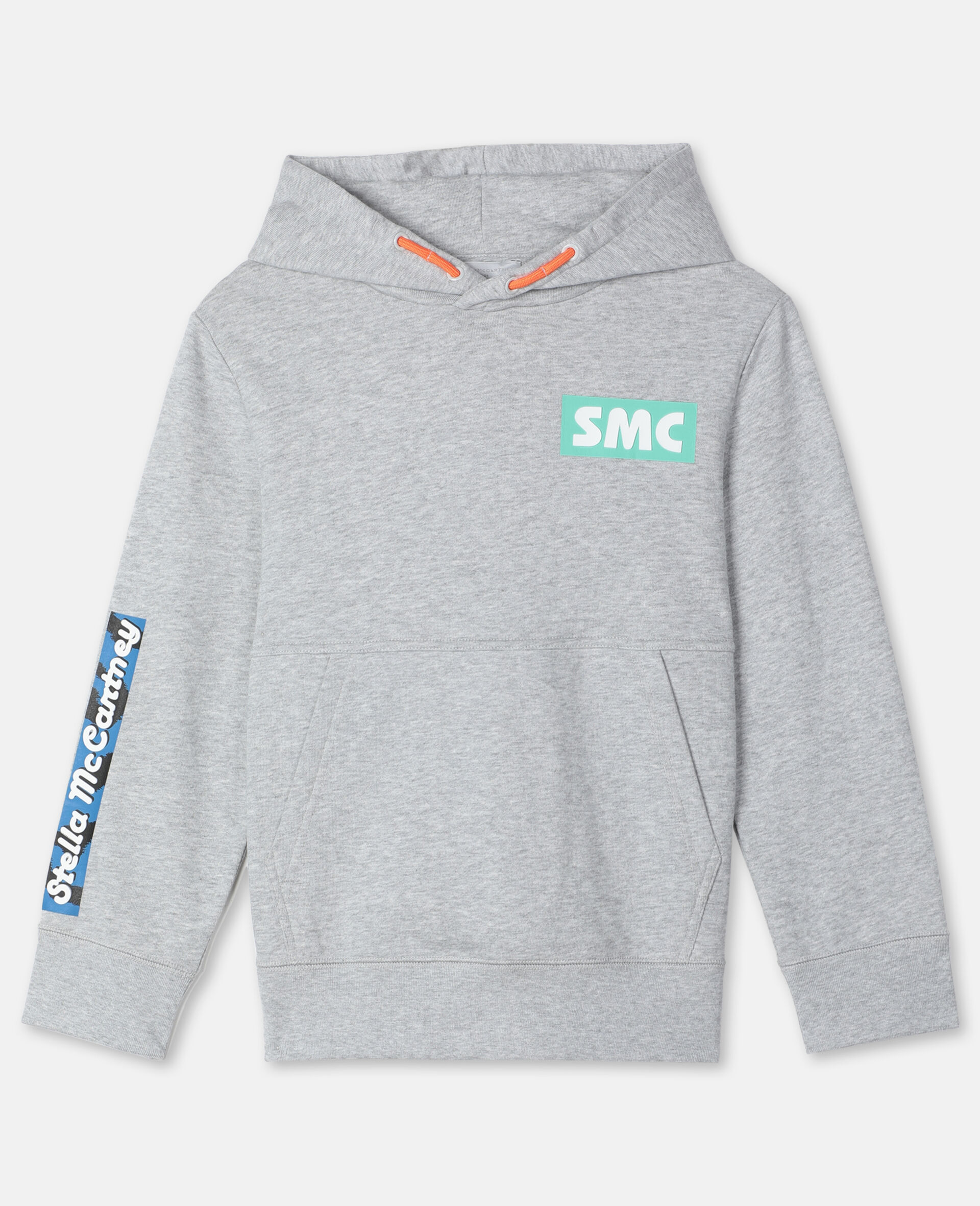 Oversize Logo Badge Cotton Sport Hoodie -Grey-large image number 0