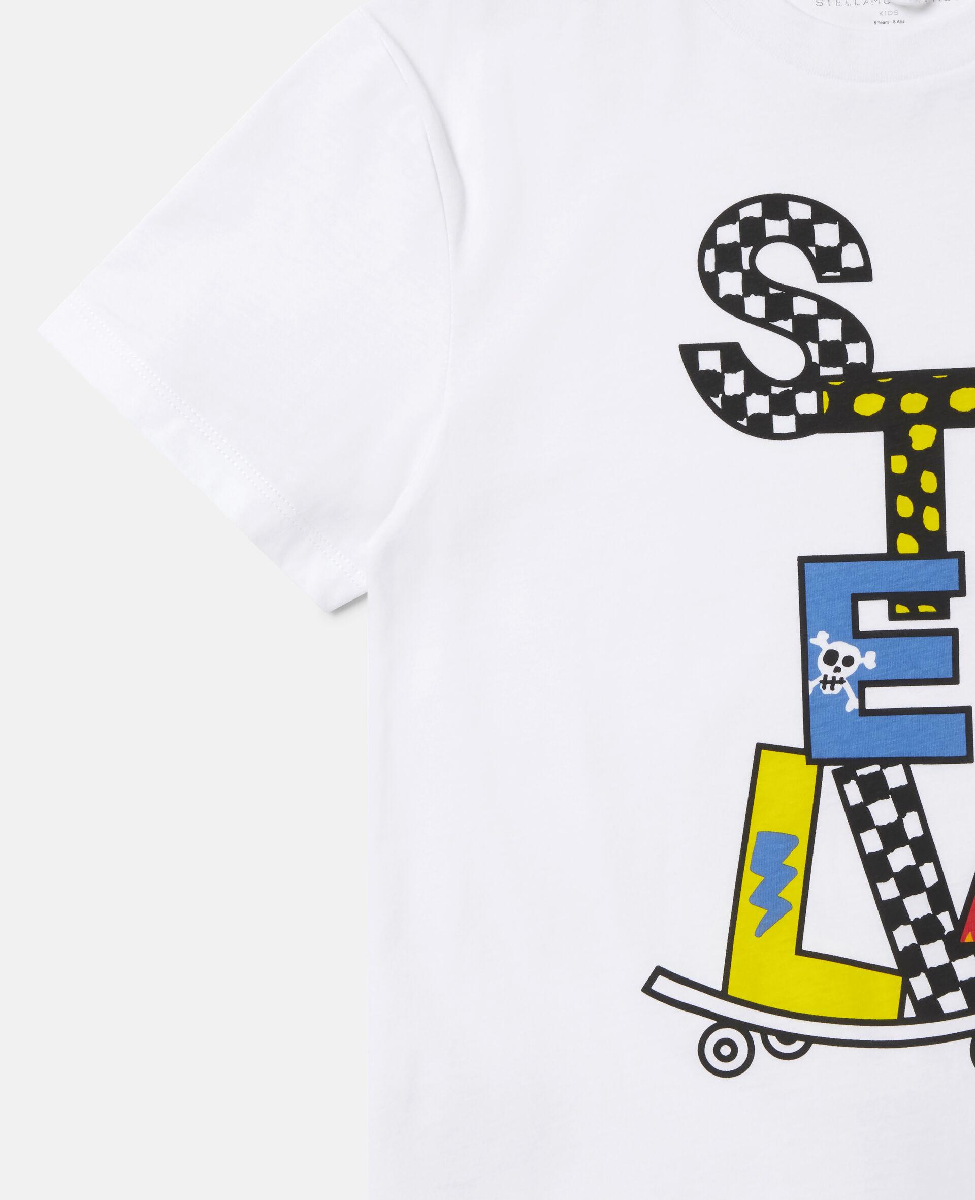 Stella滑板印花超大号棉质T恤 -白色-large image number 2
