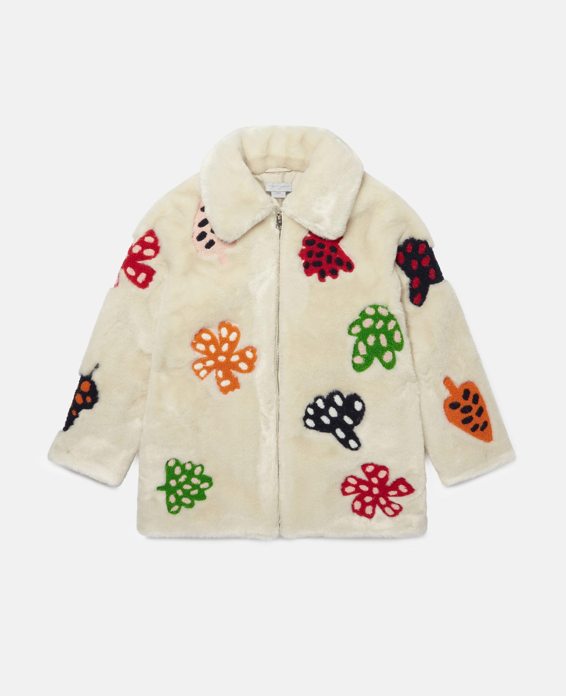 Jacke aus FFF mit gepunkteter Blumen-Stickerei -Weiß-large image number 0