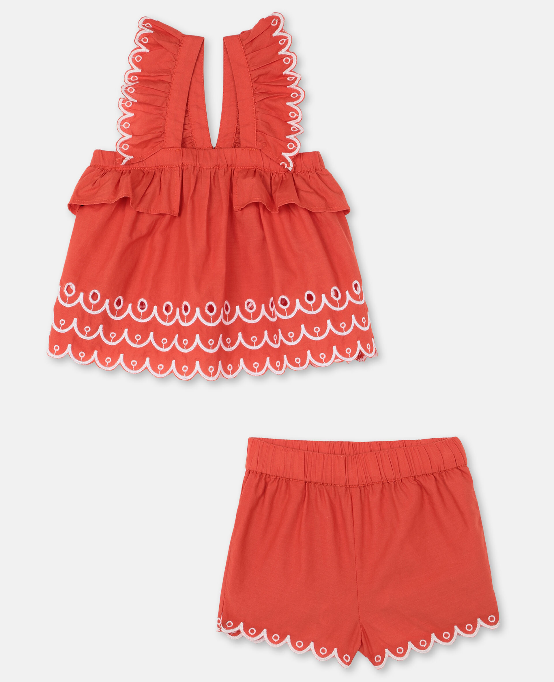 Scalloped Cotton Set -Red-large image number 0