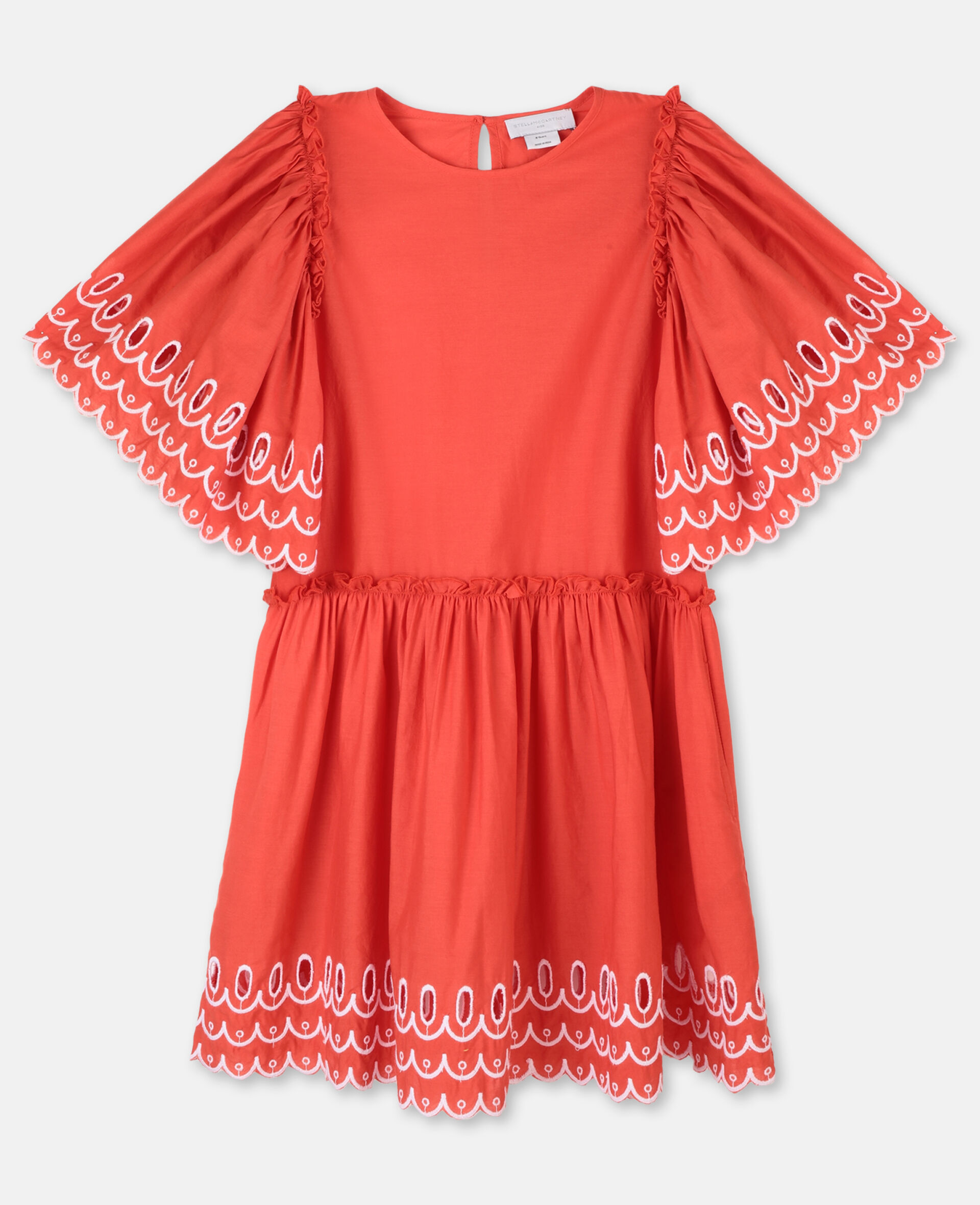 Scalloped Cotton Dress-Red-large image number 0