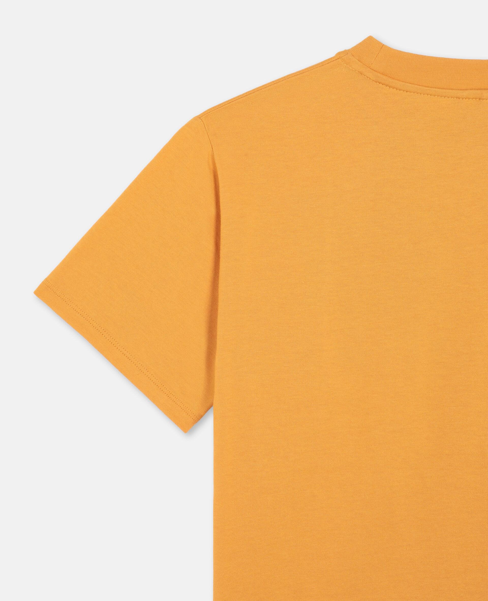 T-shirt oversize en coton avec écussons chat -Orange-large image number 2