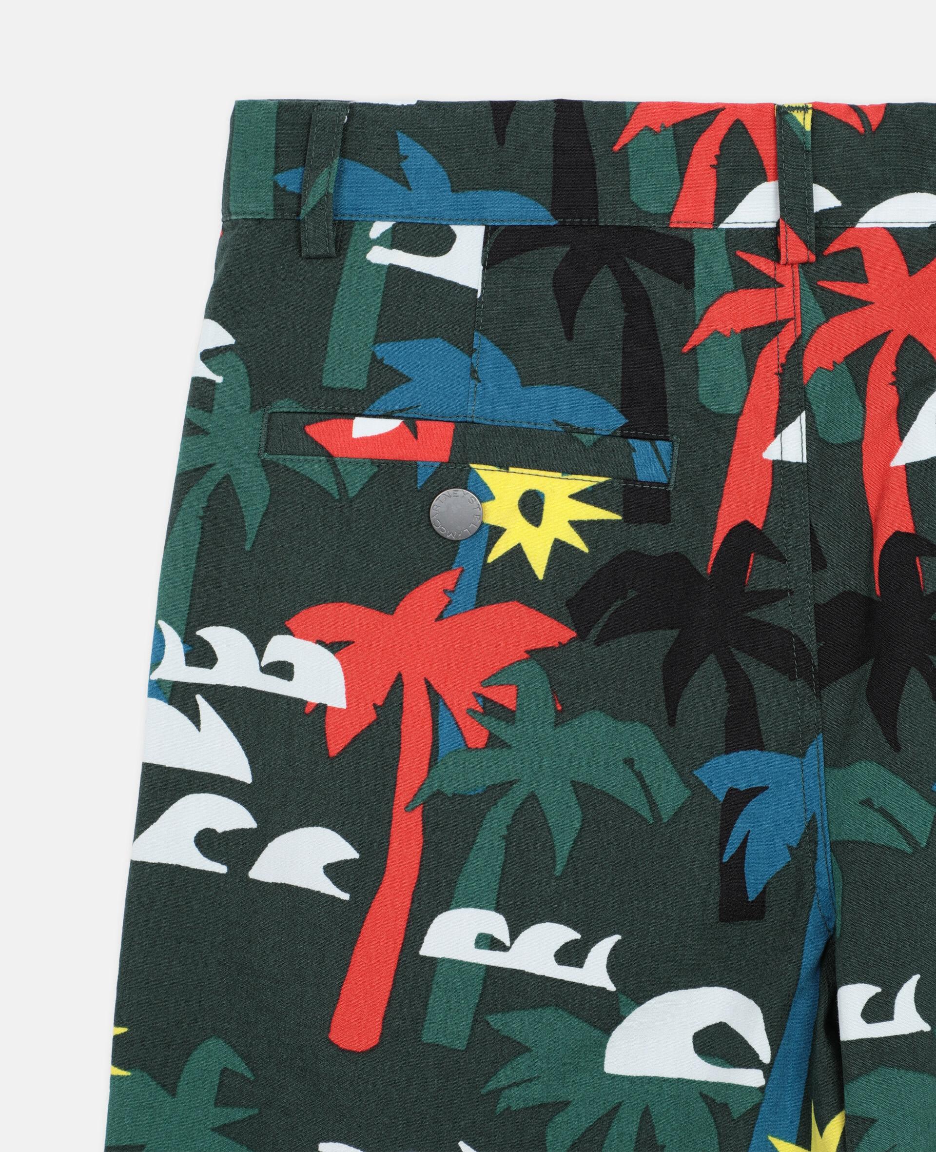 Multicolor Palm Cotton Shorts -Multicolour-large image number 2