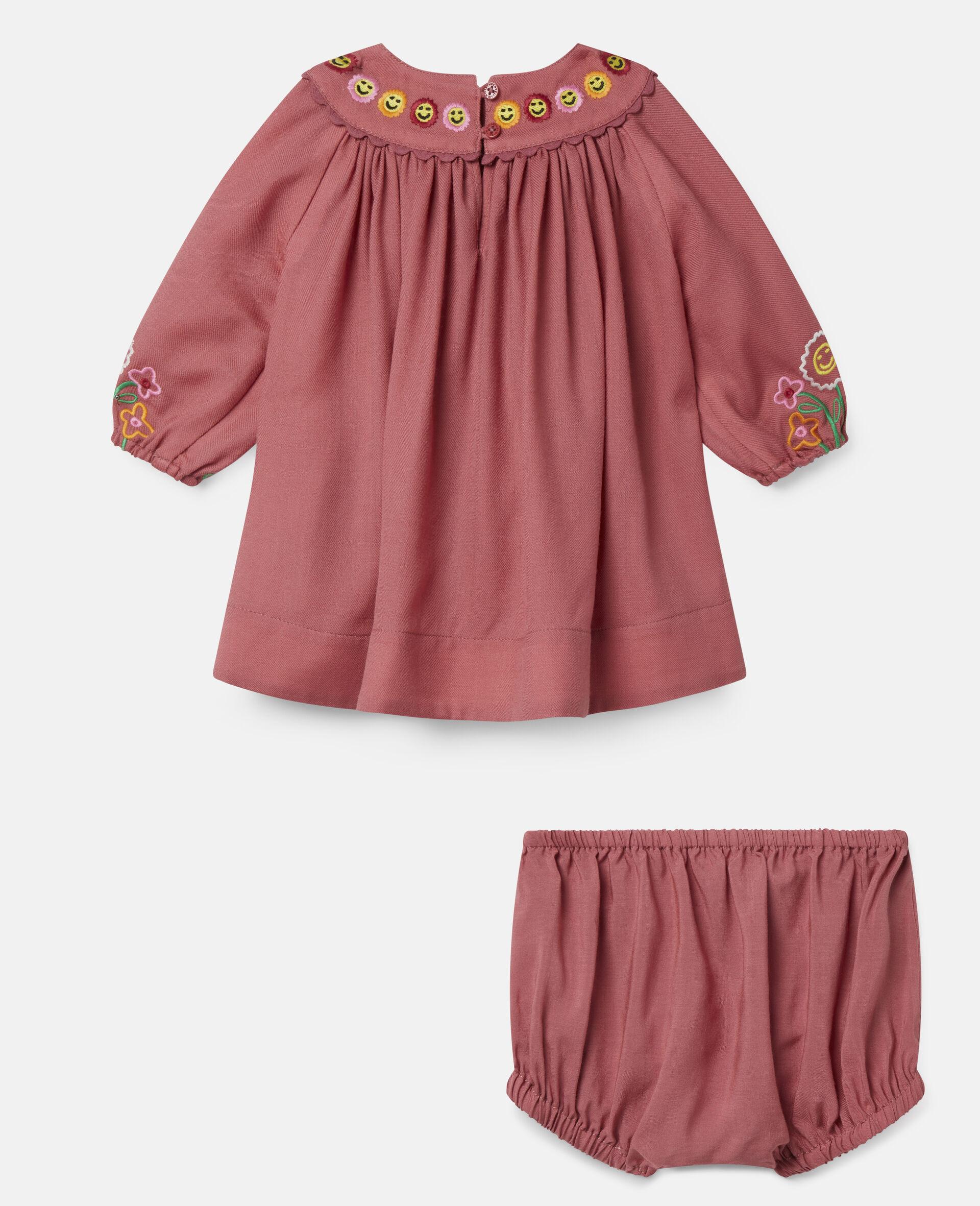 Kleid aus Wolle mit Garten-Stickerei-Rot-large image number 3