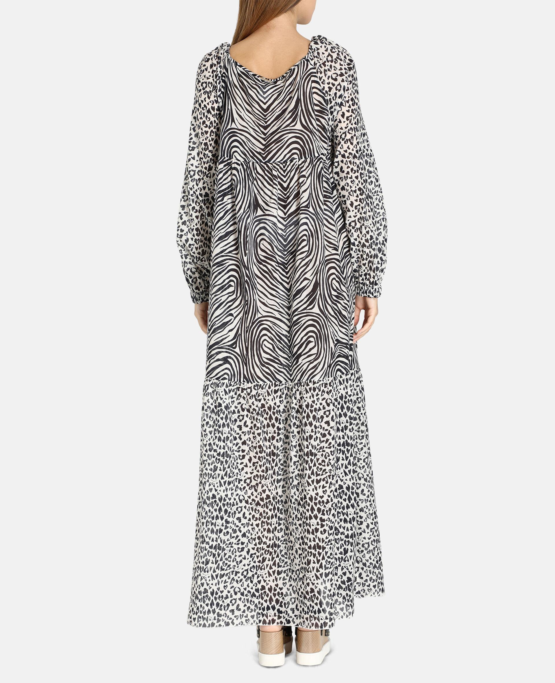 Langes Kleid mit Animal-Print-Mix-Schwarz-large image number 2
