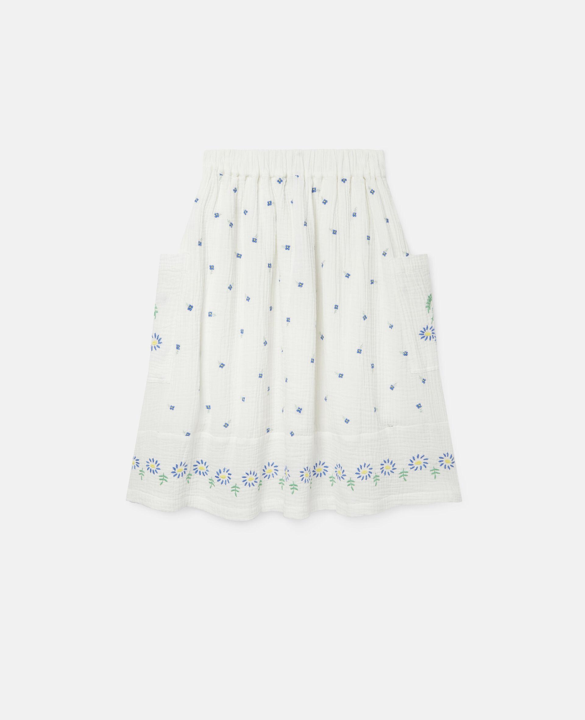 Jupe en coton à fleurs brodées-Blanc-large image number 3