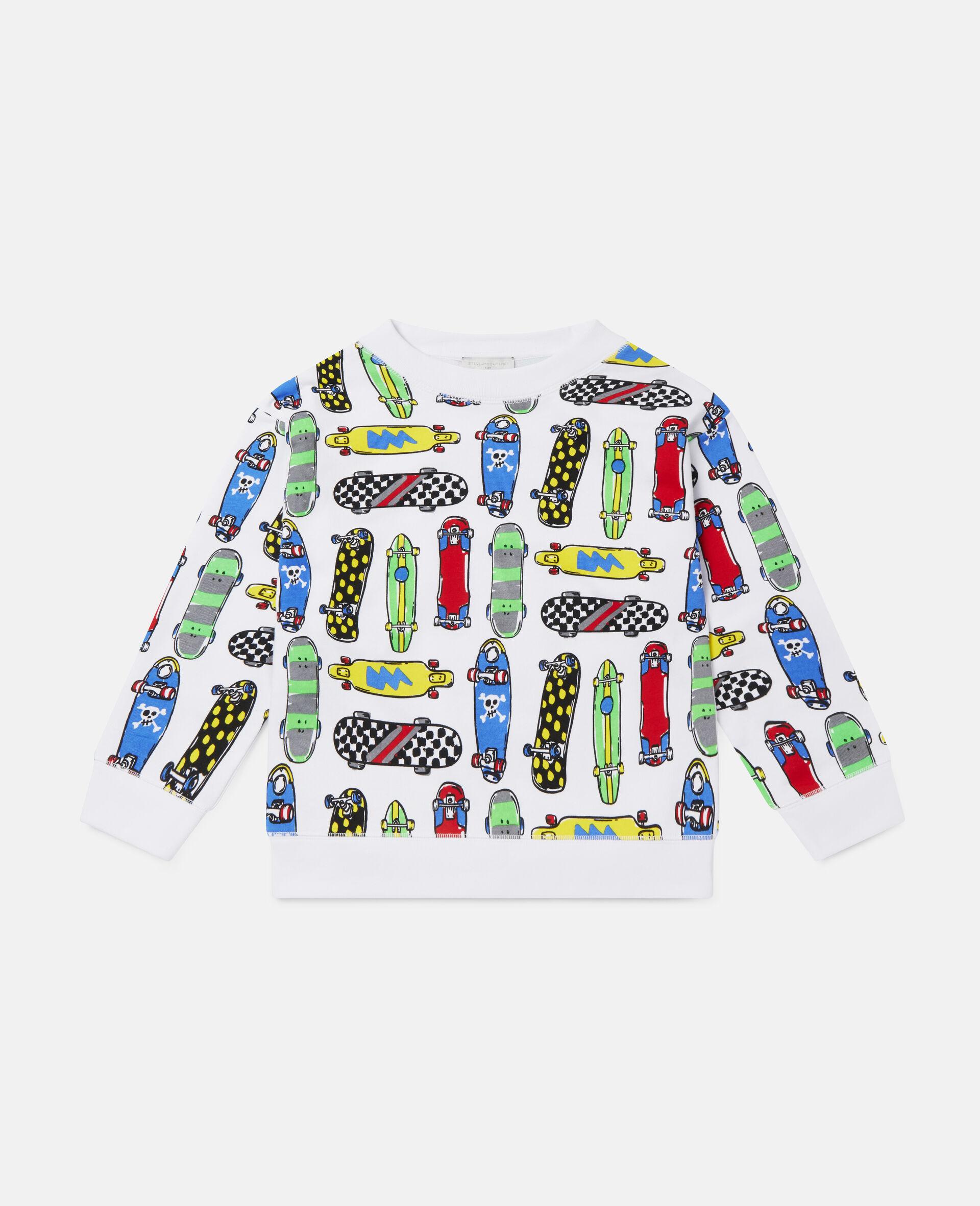 Übergroßes Fleece-Sweatshirt mit Skateboardmotiv-Weiß-large image number 0