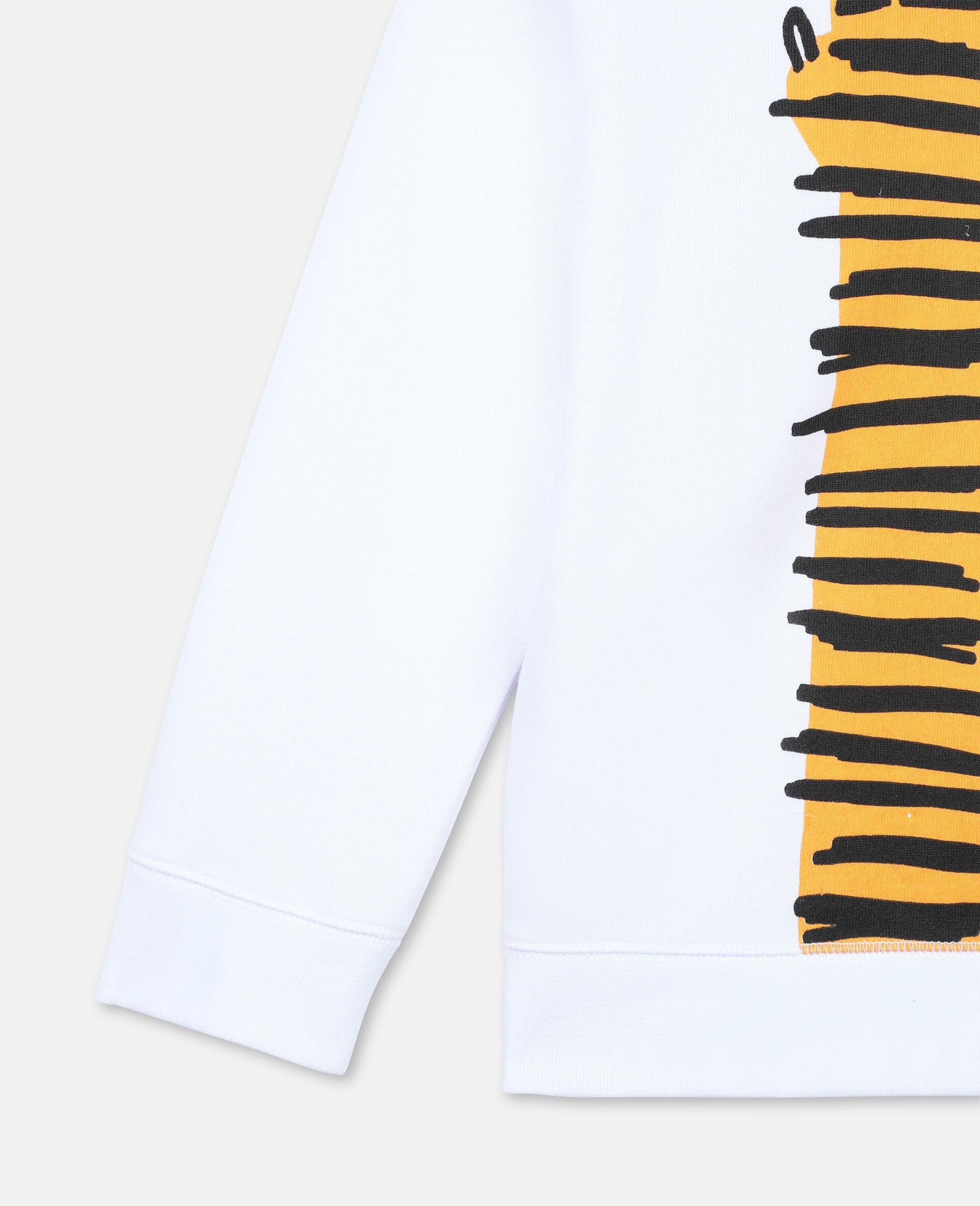 Paws Up Oversize Cotton Sweatshirt -White-large image number 3