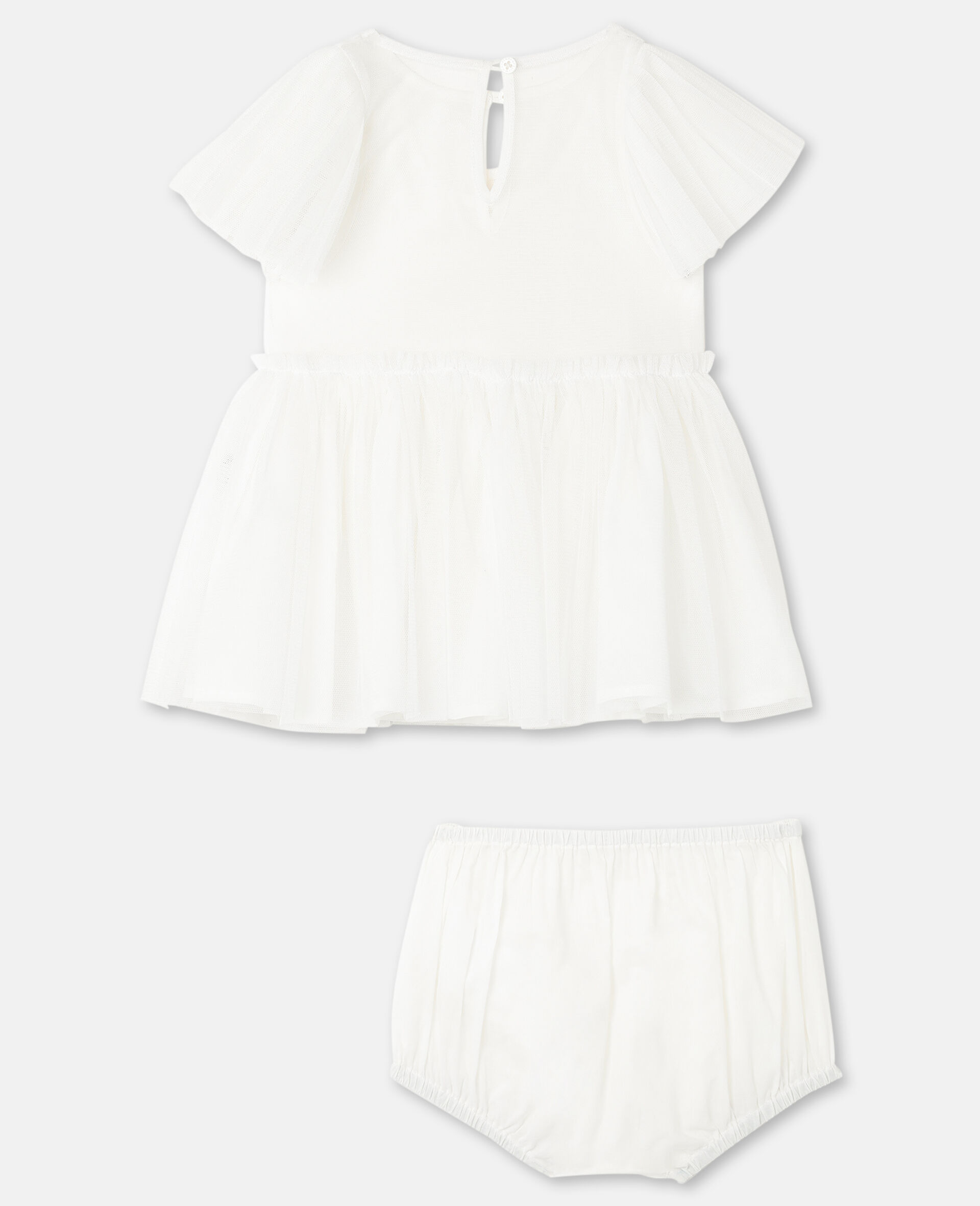 Butterfly Patch Tulle Dress -White-large image number 3