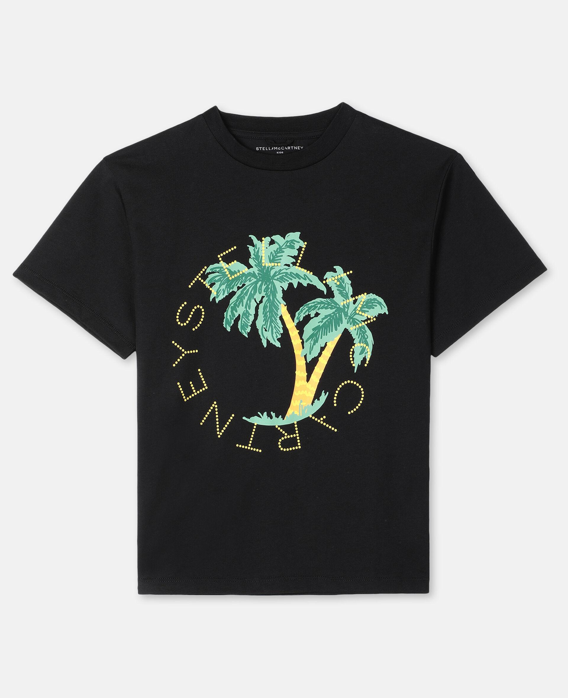 T-Shirt Oversize con Logo Palma -Nero-large image number 0