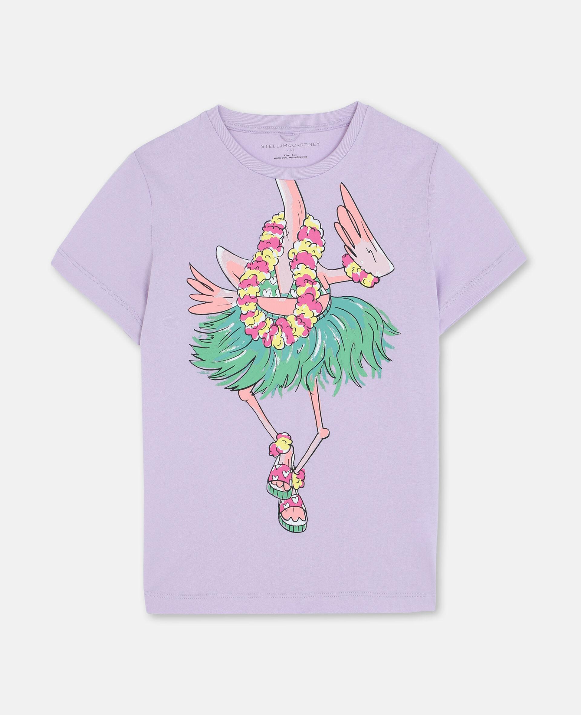 T-shirt en coton à flamant rose en trompe-l'œil-Rose-large image number 0