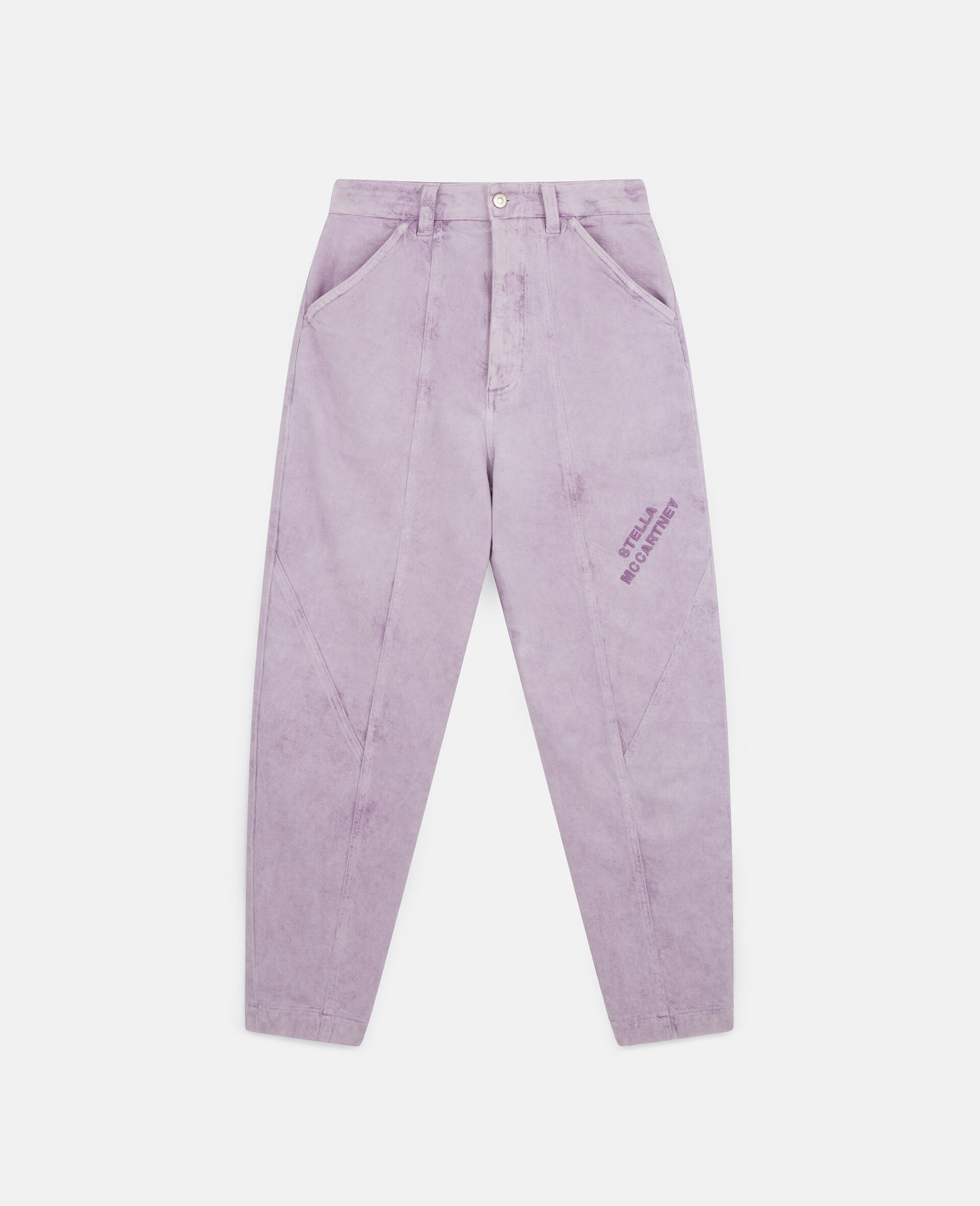Cropped Denim Trousers-Purple-large image number 0