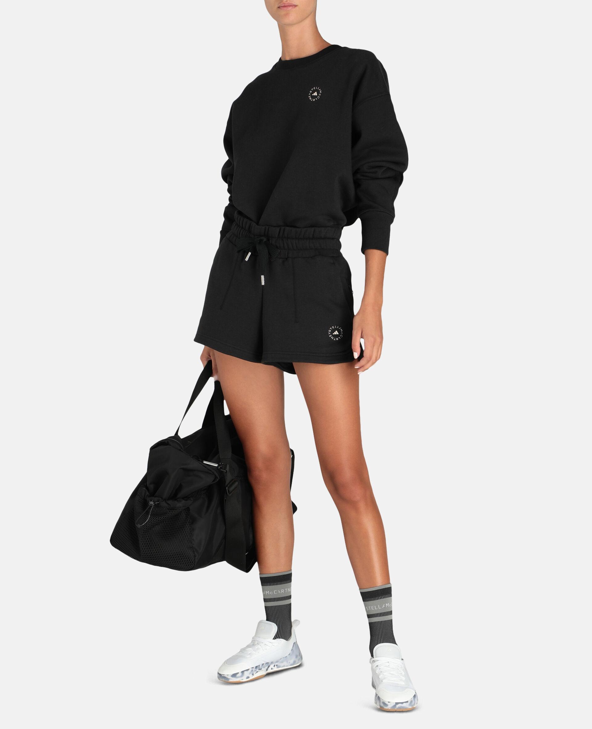 Schwarze Fleece-Sweat-Shorts-Schwarz-large image number 1