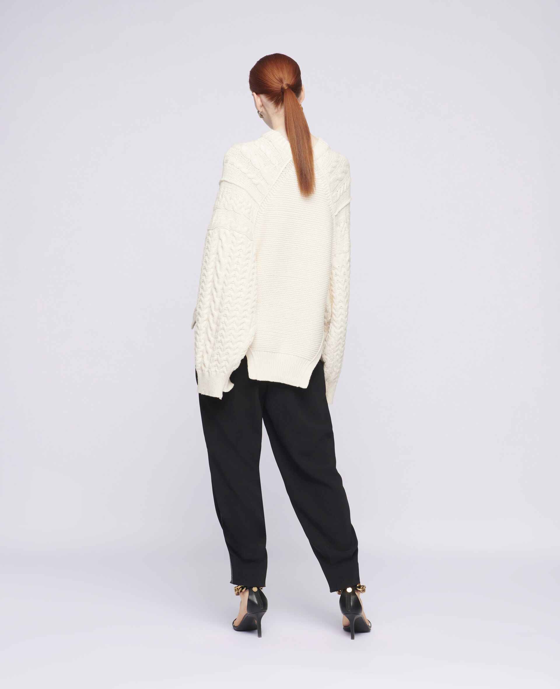 Aran Stitch Oversized Jumper-White-large image number 2