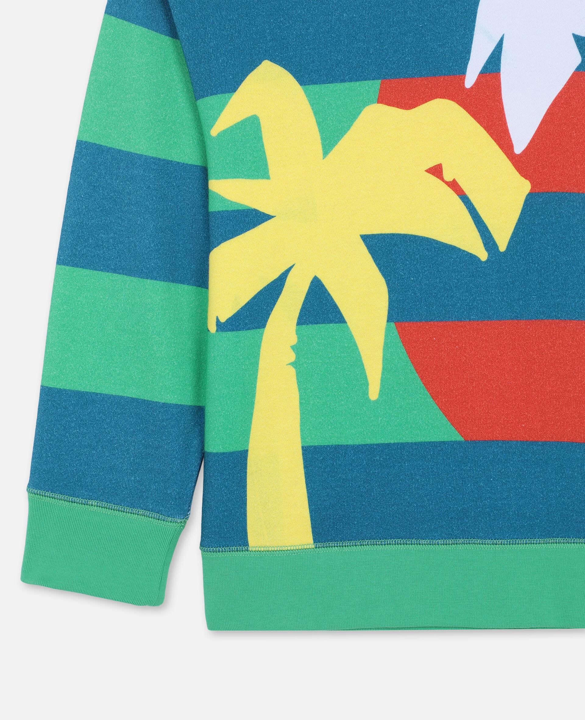 Sweat-shirt oversize en coton à motif palmiers -Vert-large image number 1
