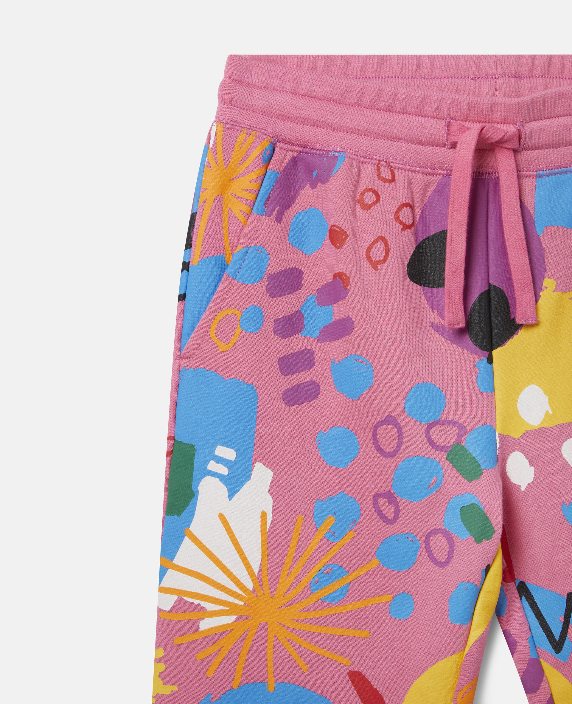 Painting Cotton Fleece Joggers-Pink-large image number 1