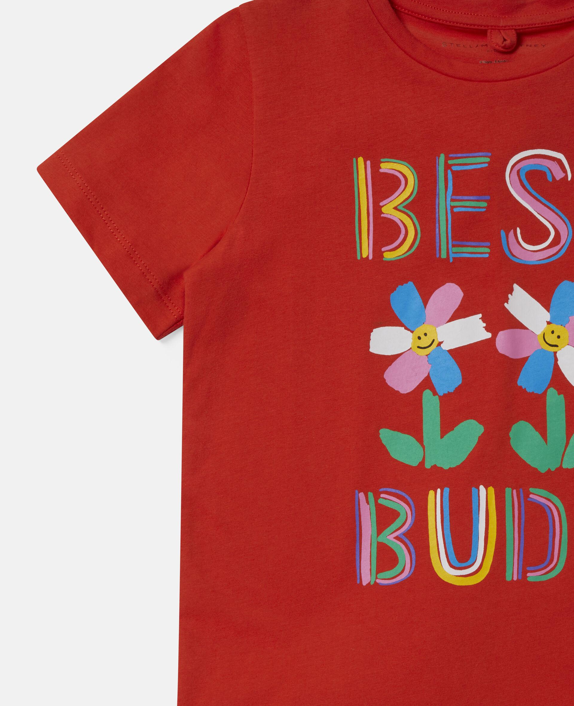 Best Buds 印花棉质 T 恤-红色-large image number 2