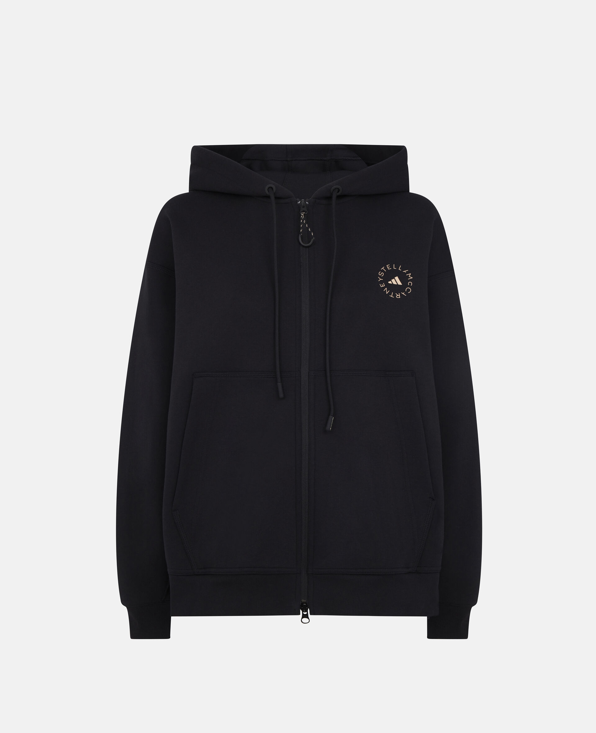 Schwarzes Kapuzensweatshirt mit Reißverschluss-Schwarz-large image number 0