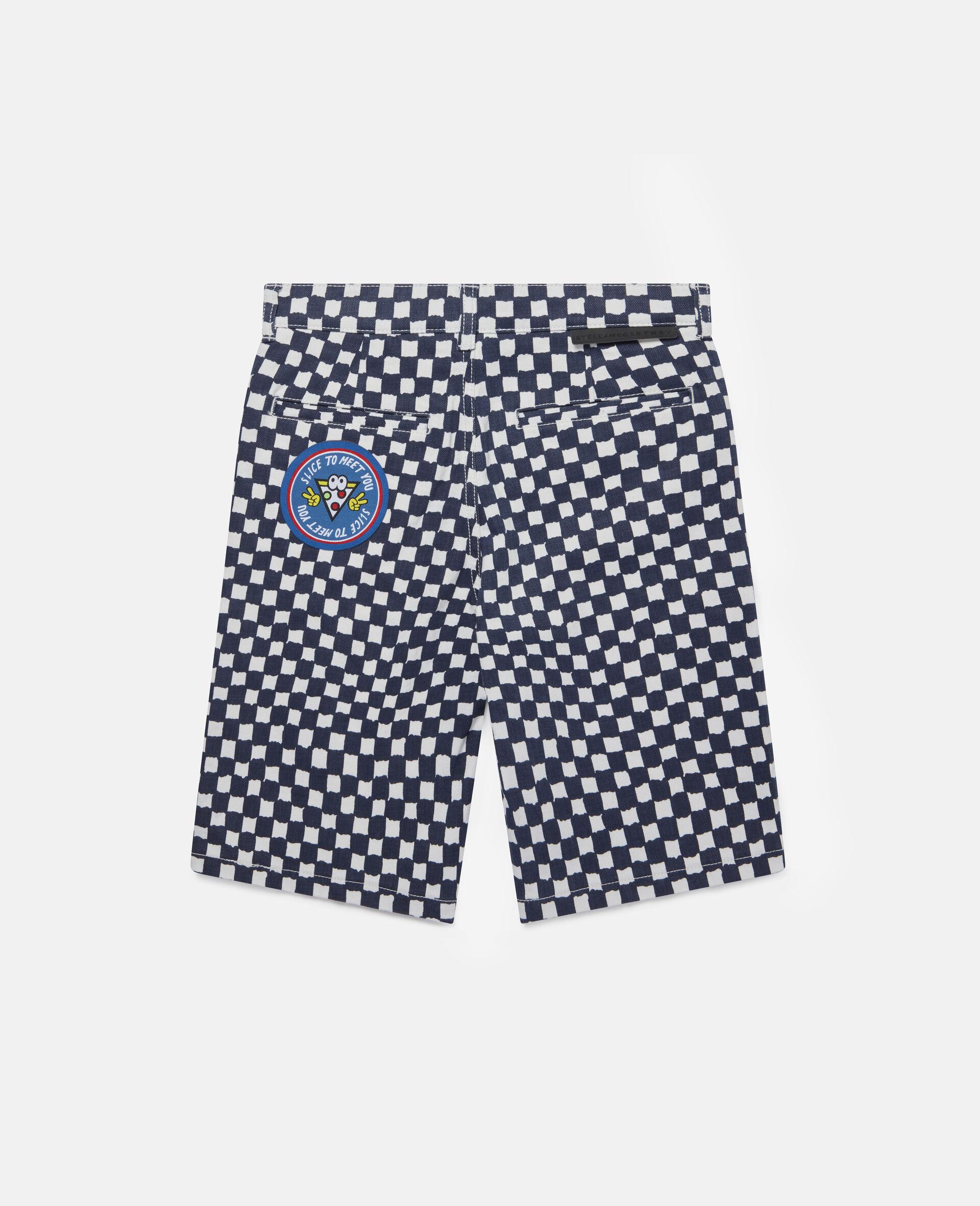 Checked Denim Shorts -Multicoloured-large image number 3