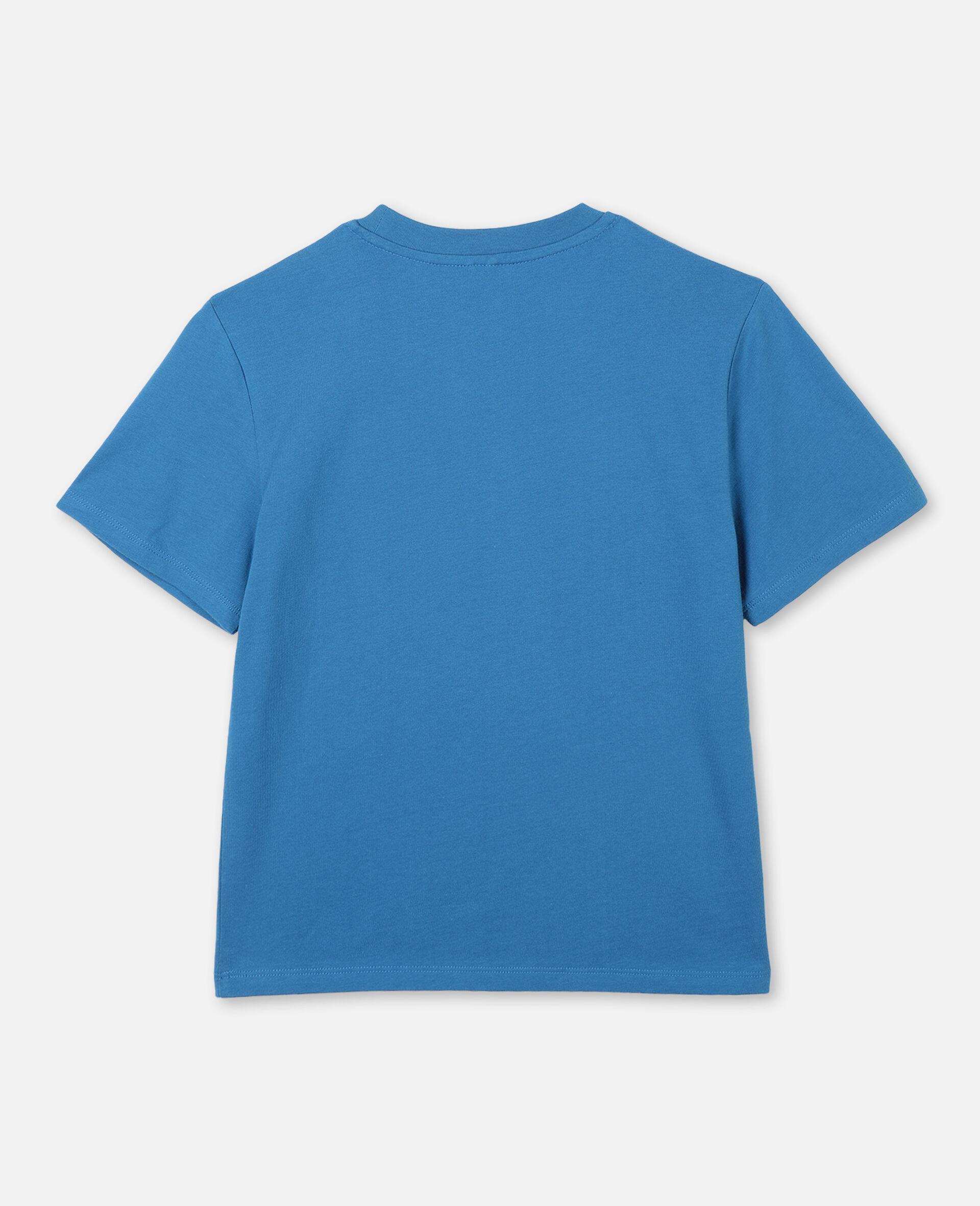 Oversize Logo Cotton Sport T-shirt -Blue-large image number 3
