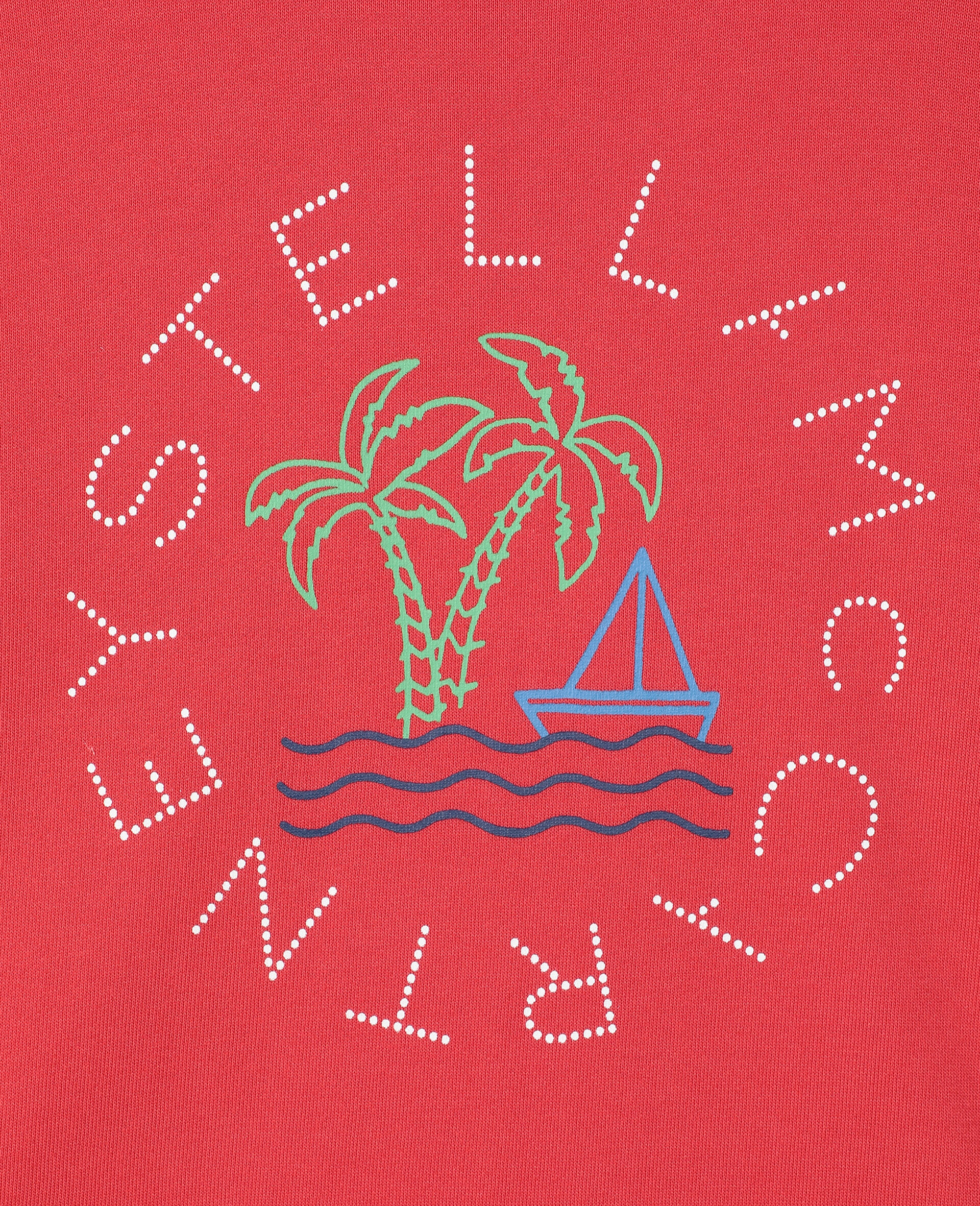 Oversize Logo Sailing Cotton Sweatshirt -Red-large image number 2