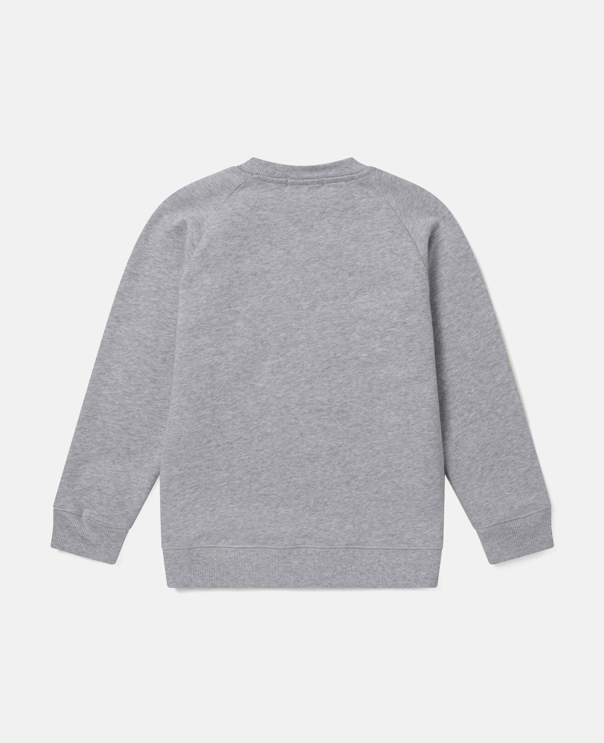 Sweat-shirt en polaire de coton motif cœur en marguerites -Gris-large image number 2