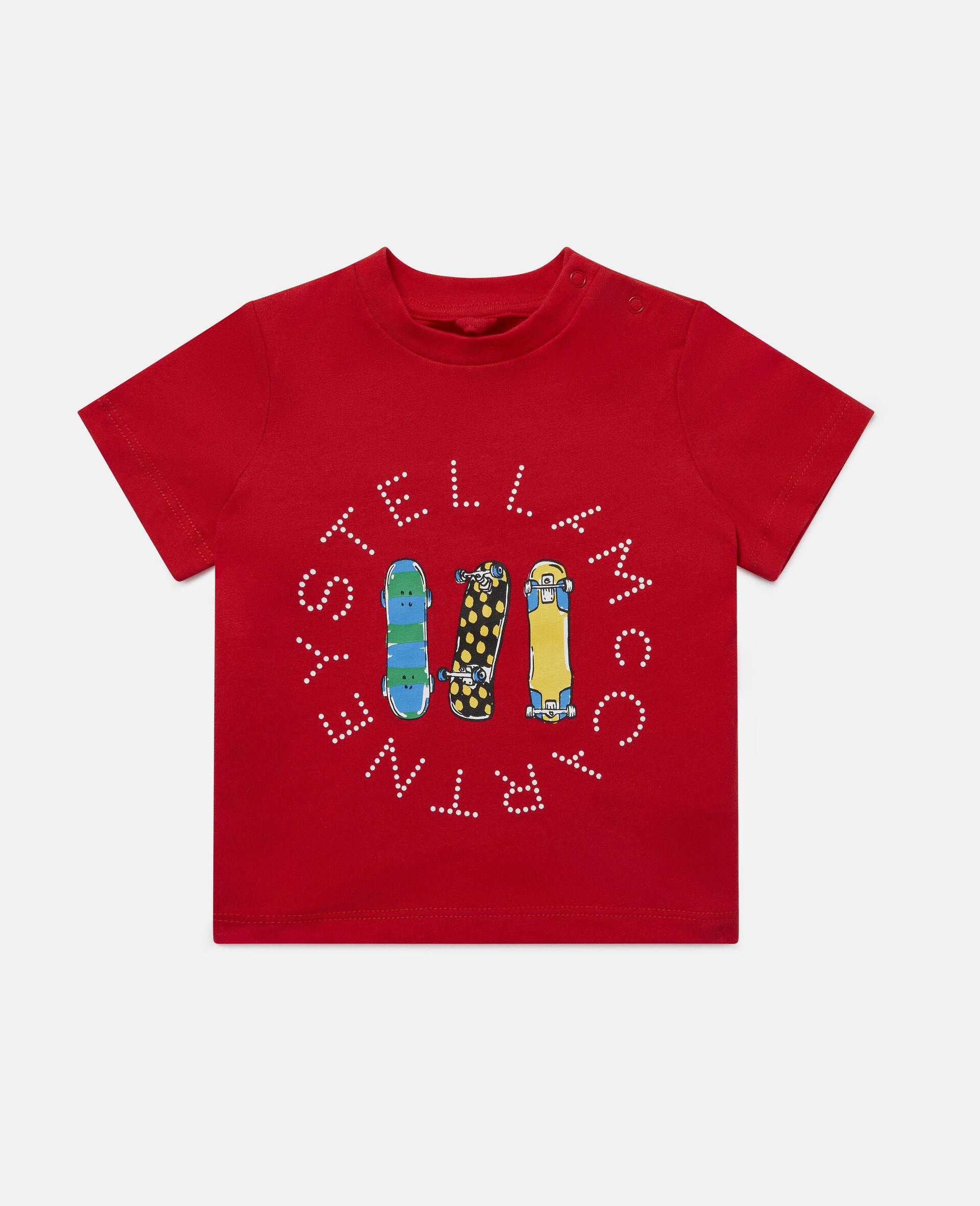 Baumwoll-T-Shirt mit Skateboardmotiv-Rot-large image number 0