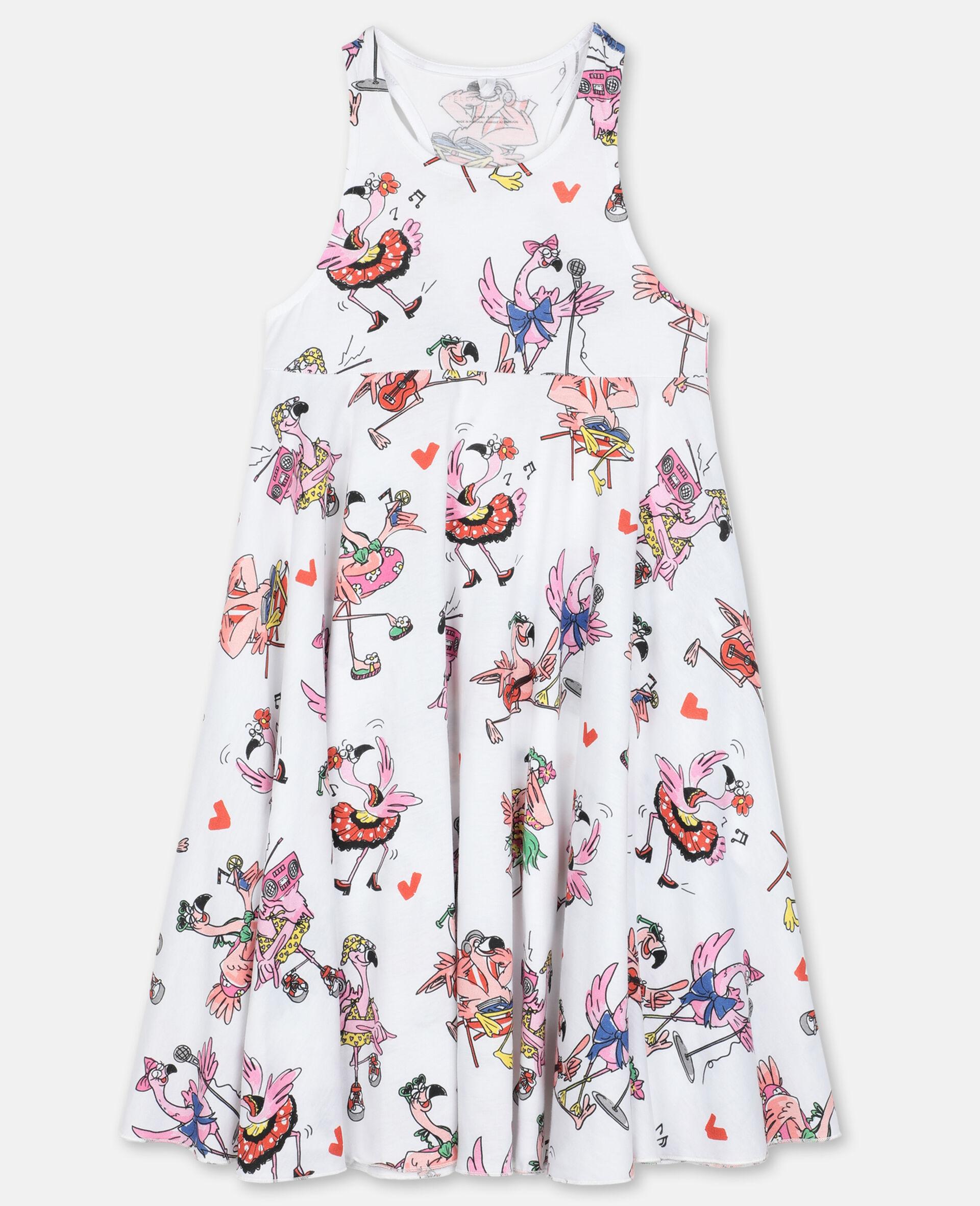 Flamingo Cotton Party Dress-Multicolour-large image number 0