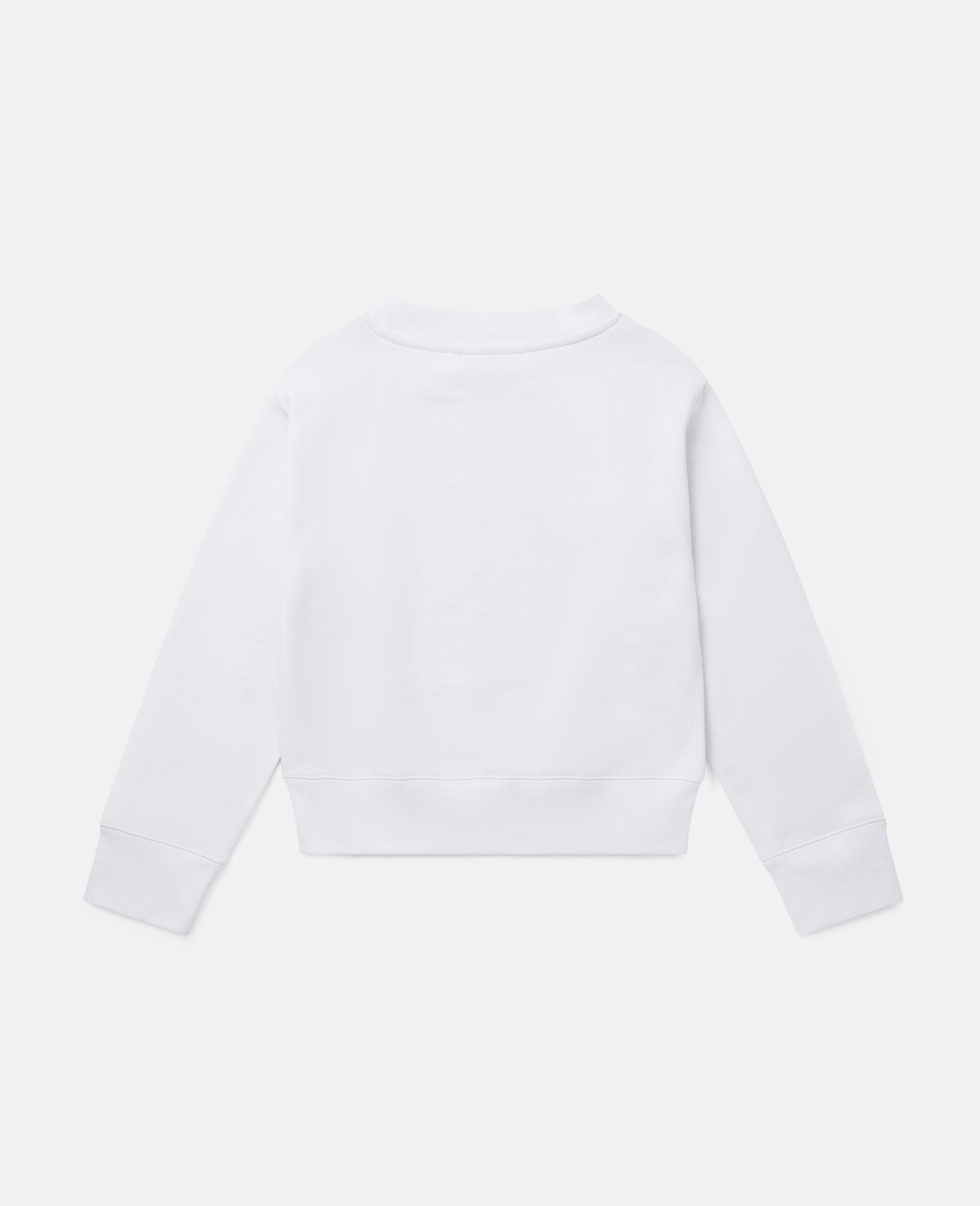 Stripy Logo Fleece Sports Sweatshirt-White-large image number 3