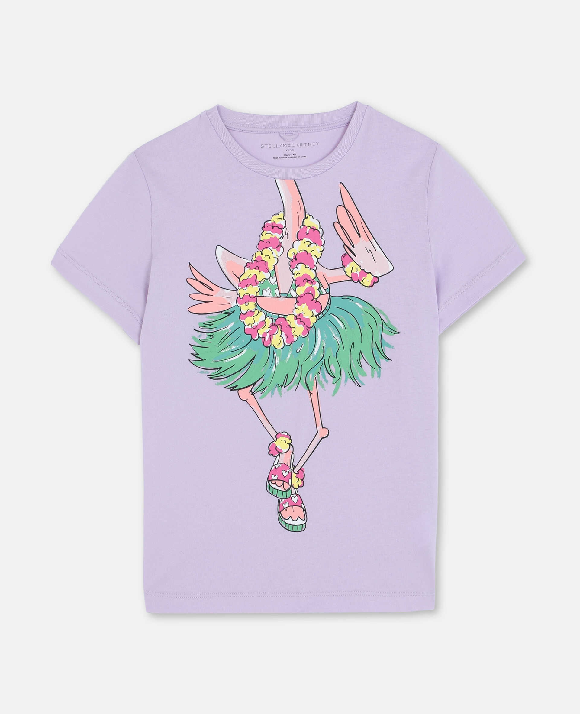 Trompe-L'Oeil Flamingo Cotton T-shirt-Pink-large image number 0