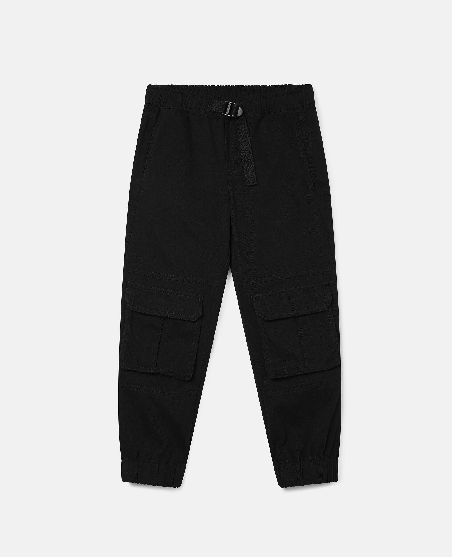 Cargo Cotton Twill Trousers-Black-large image number 0